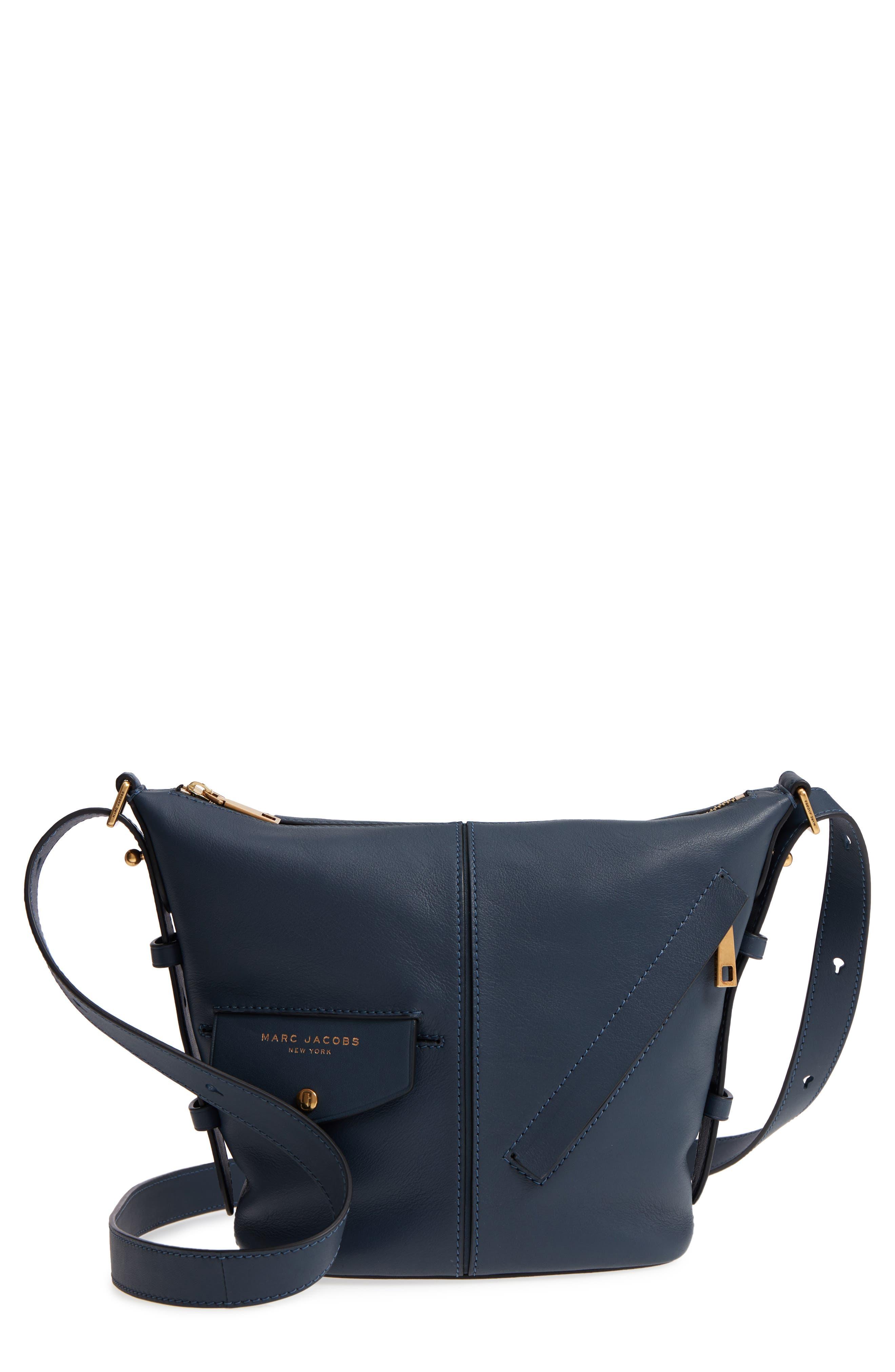 The Mini Sling Convertible Leather Hobo,                             Main thumbnail 1, color,                             Blue Sea
