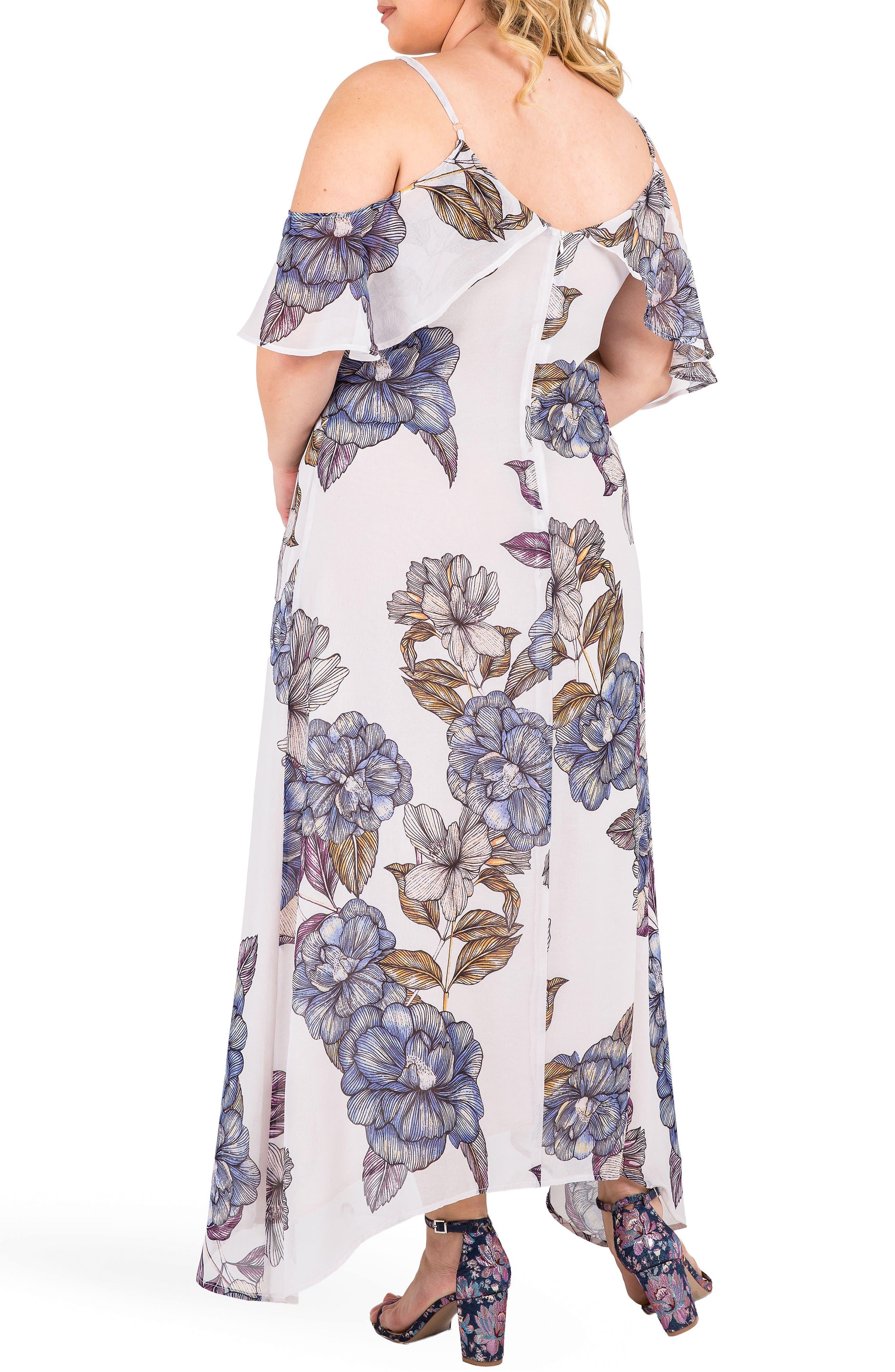 Matilda Floral Cold Shoulder Maxi Dress,                             Alternate thumbnail 2, color,                             Light Gray Floral Print