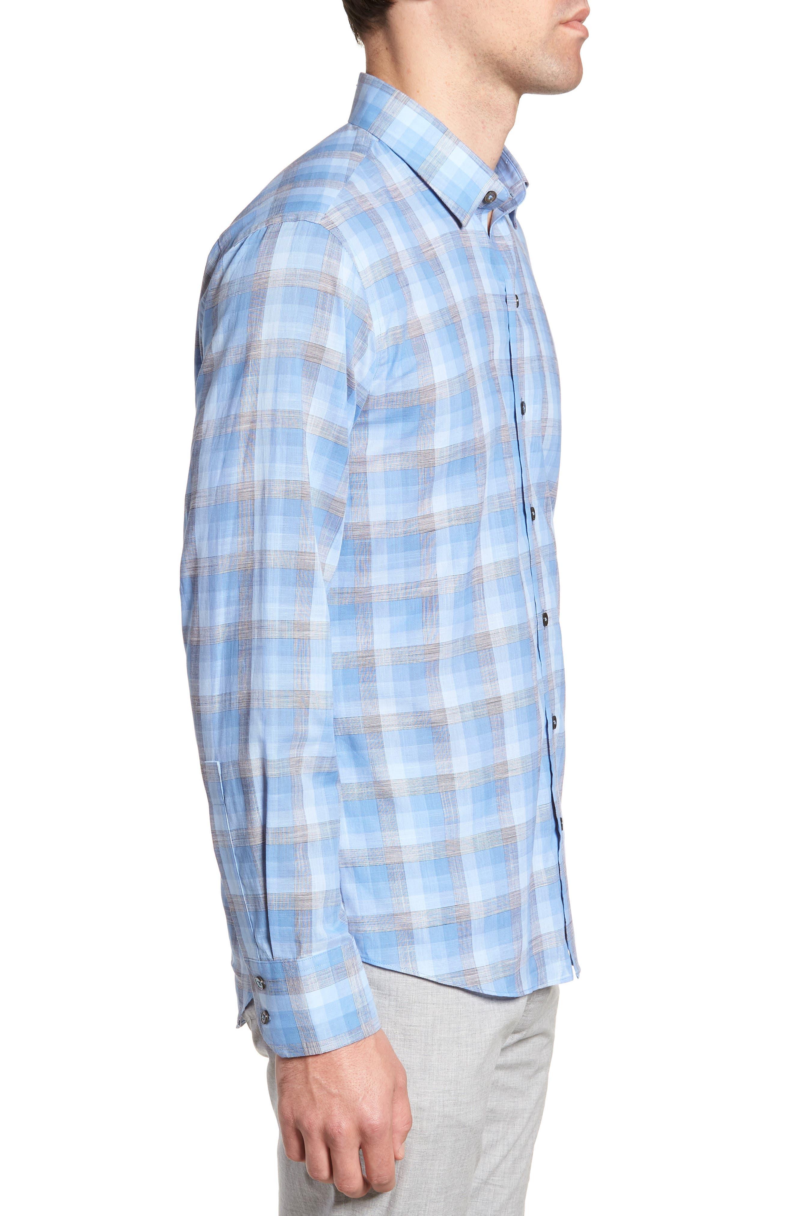 Asim Regular Fit Sport Shirt,                             Alternate thumbnail 3, color,                             Ocean