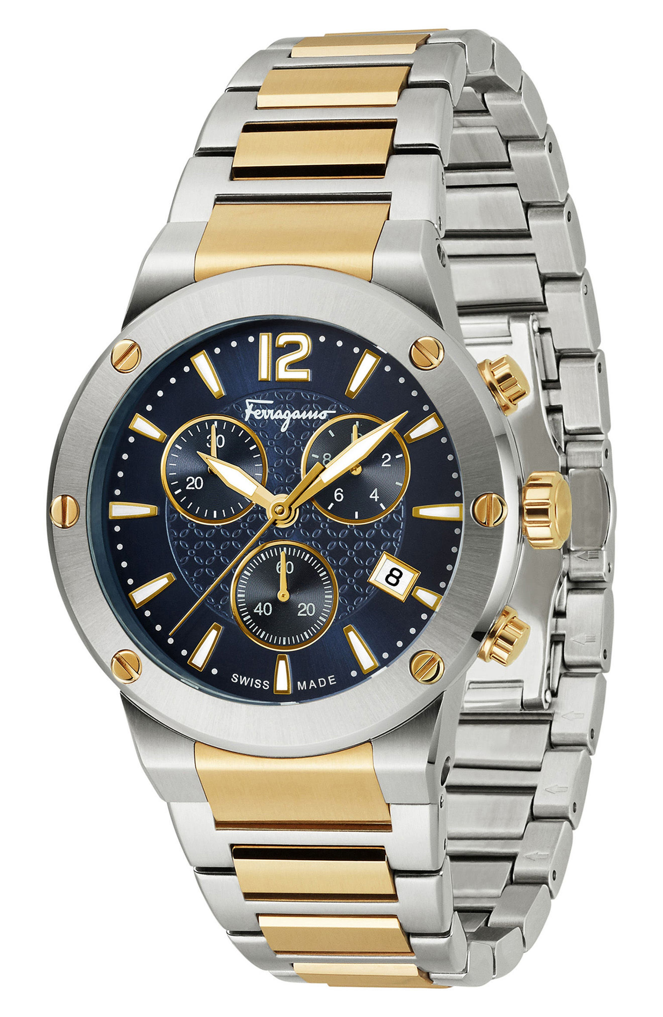 F-80 Chronograph Bracelet Watch, 44mm,                             Alternate thumbnail 4, color,                             Gold/ Blue/ Silver