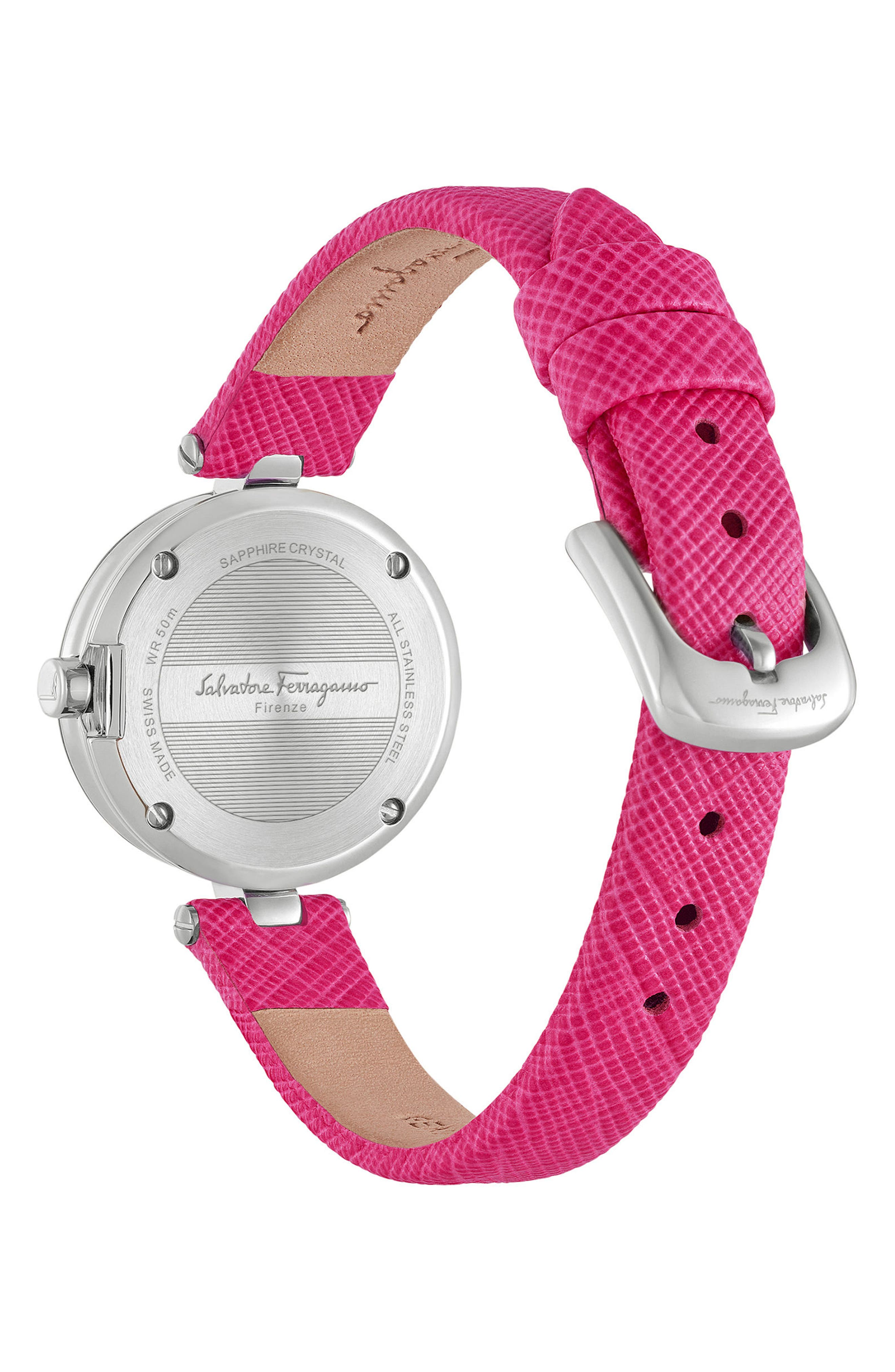 Miniature Leather Strap Watch, 26mm,                             Alternate thumbnail 2, color,                             Fuchsia/ Silver
