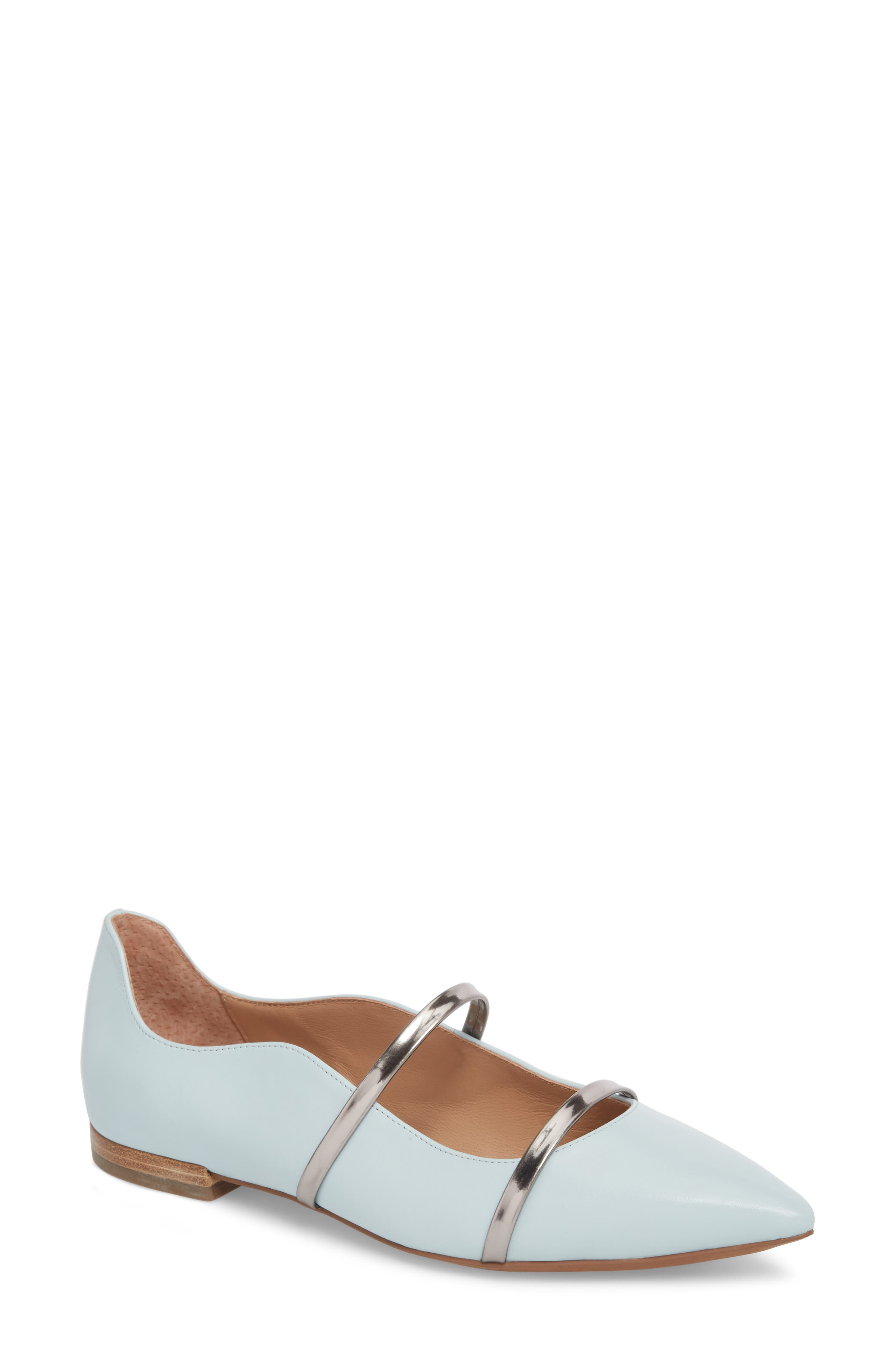 Emily Pointy Toe Flat,                             Main thumbnail 1, color,                             Pale Blue/ Gunmetal Leather