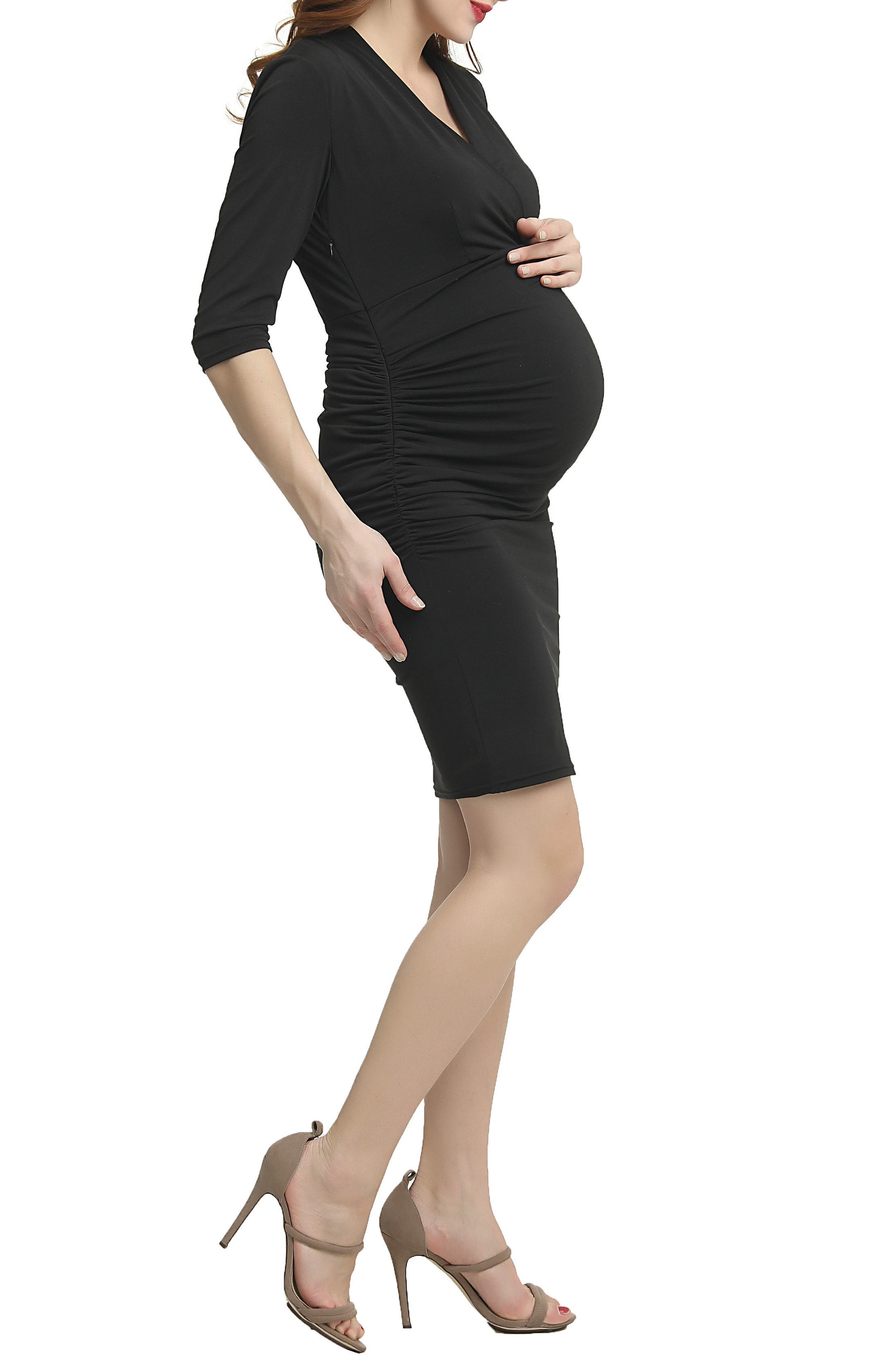Lisa Wrap Neck Maternity Dress,                             Alternate thumbnail 3, color,                             Black