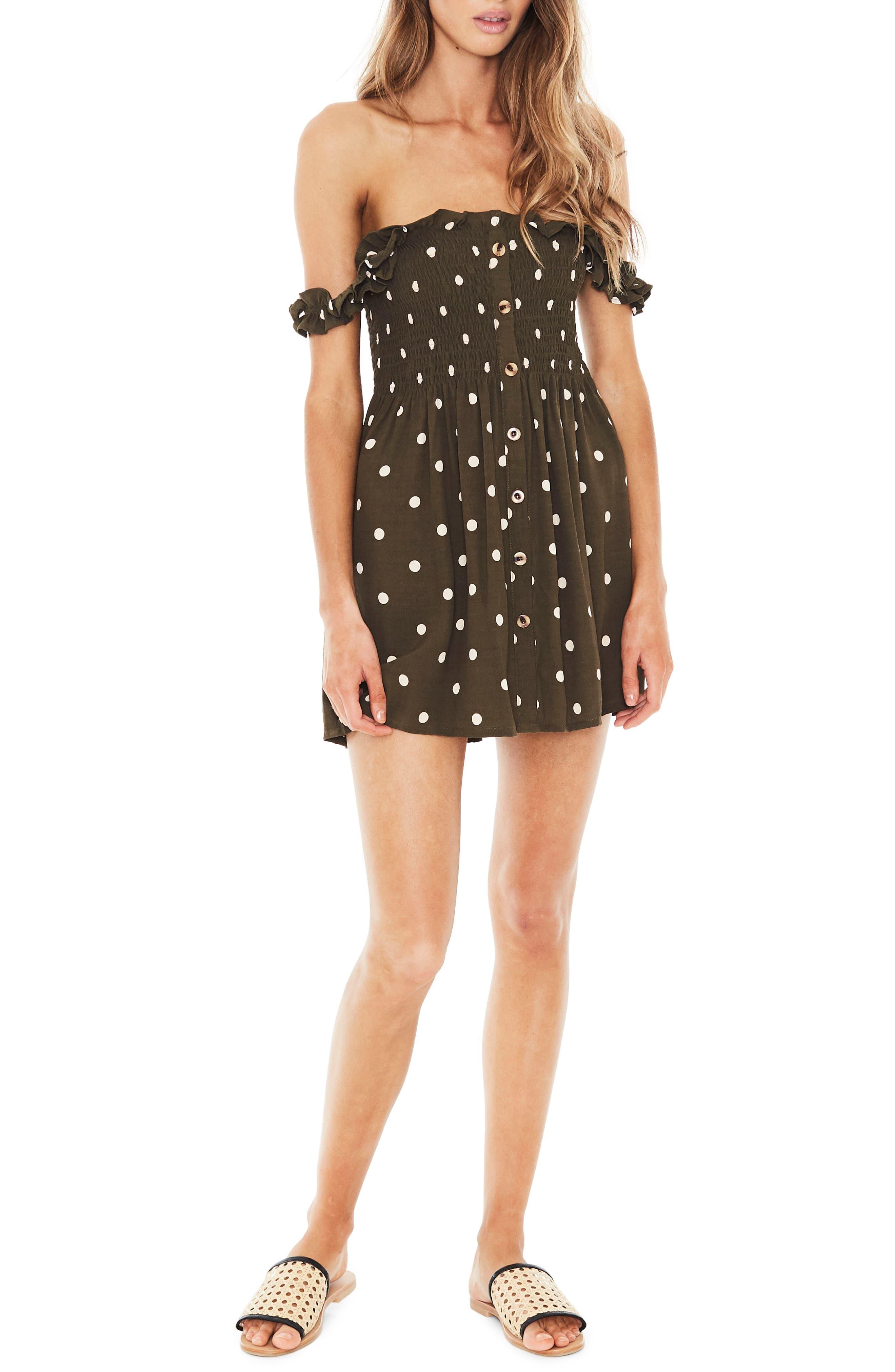 Mika Polka Dot Off the Shoulder Dress,                         Main,                         color, Ronja Dot Print