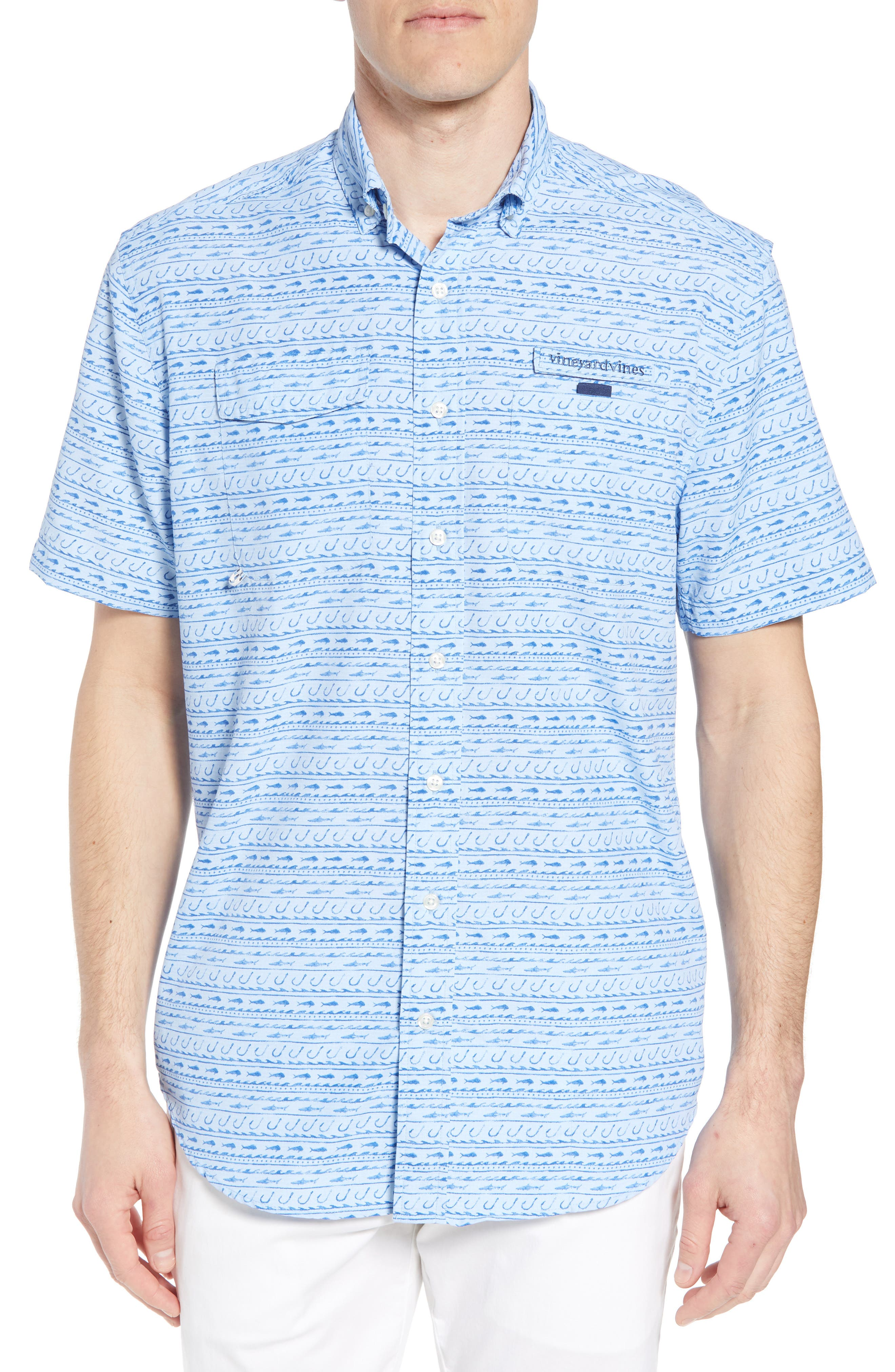 Fish Hook Wave Harbor Shirt,                             Main thumbnail 1, color,                             Basin Blue