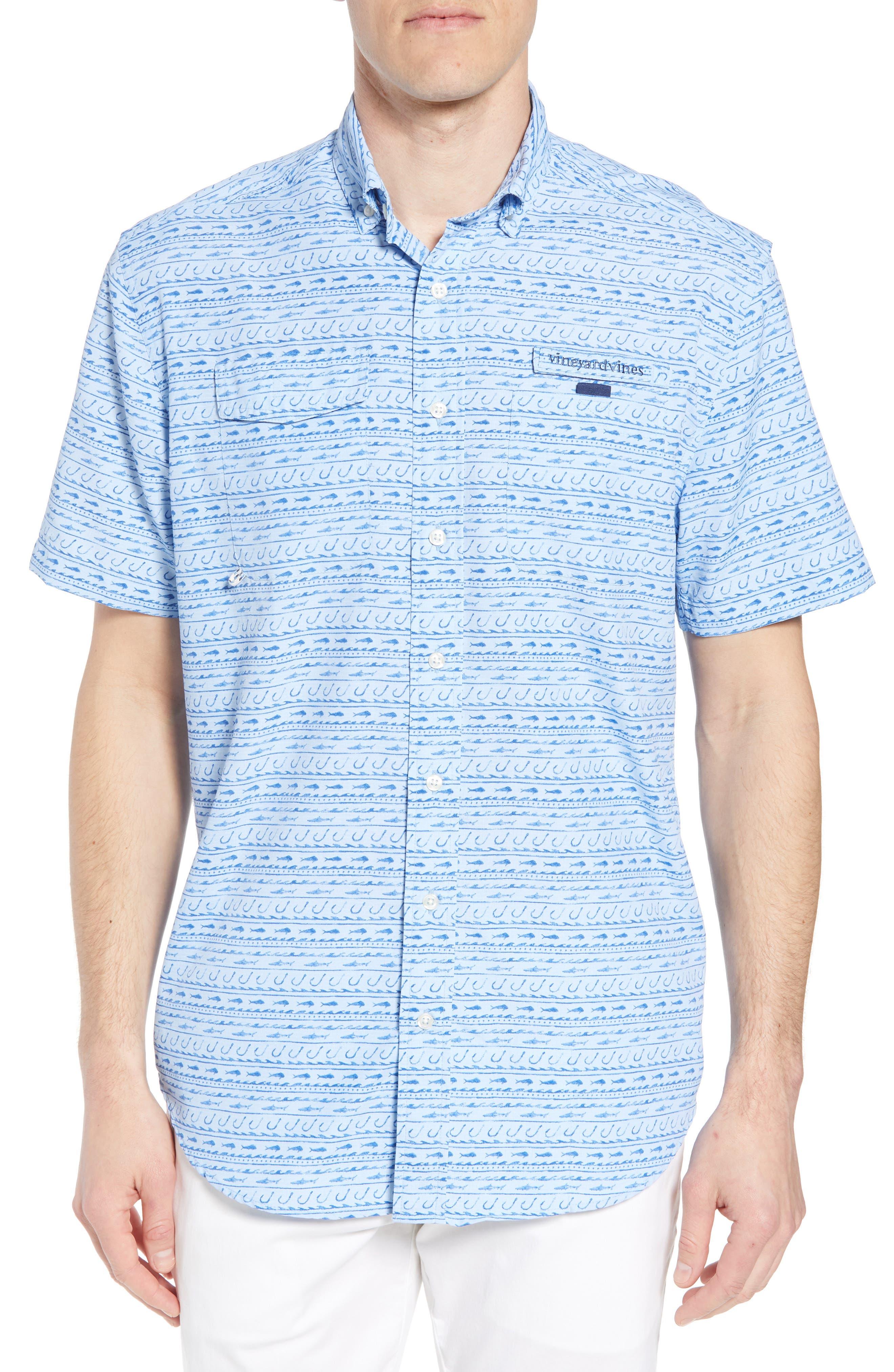 Fish Hook Wave Harbor Shirt,                         Main,                         color, Basin Blue