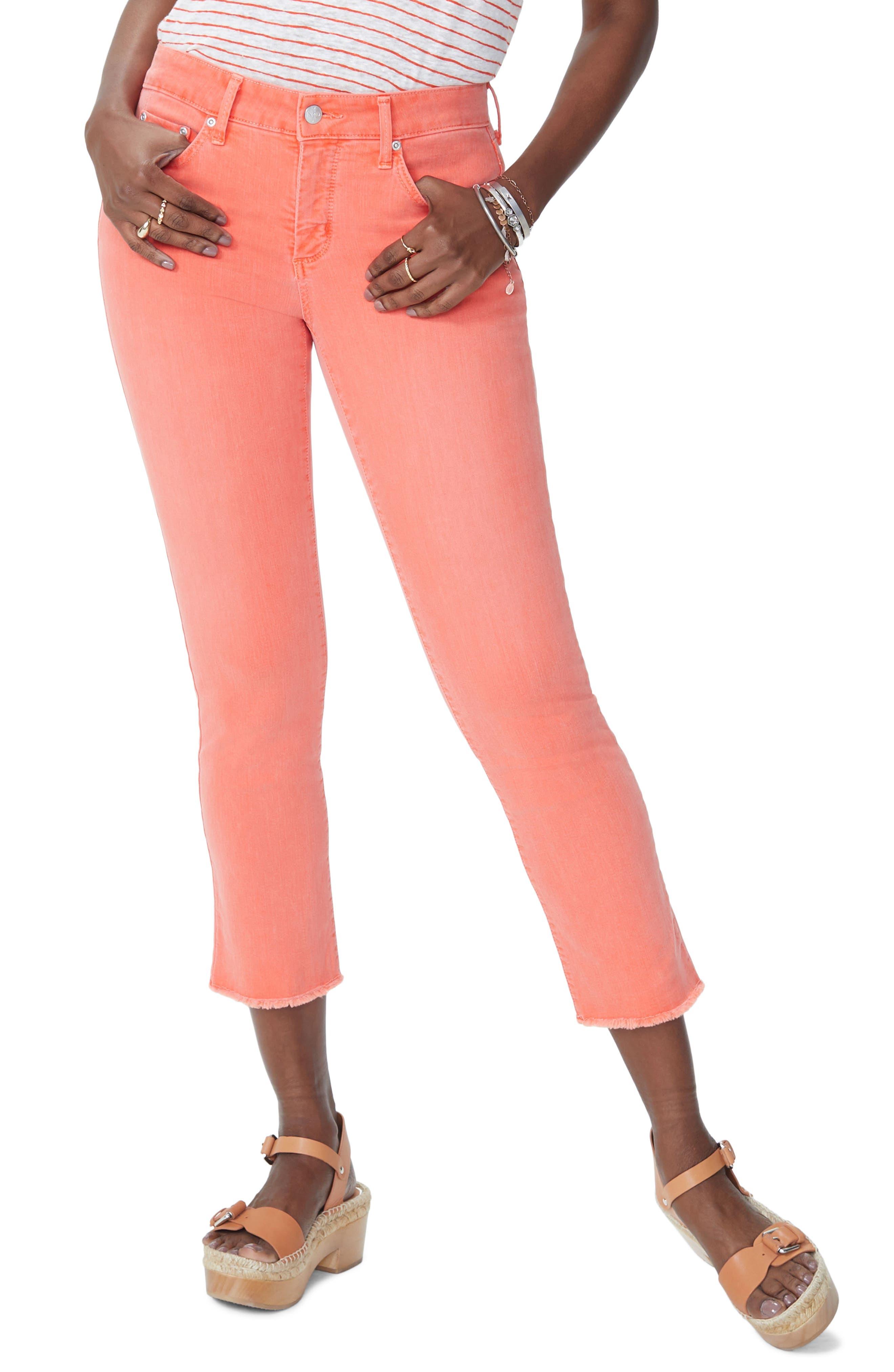 Sheri Frayed Hem Stretch Slim Ankle Jeans,                         Main,                         color, Blaze