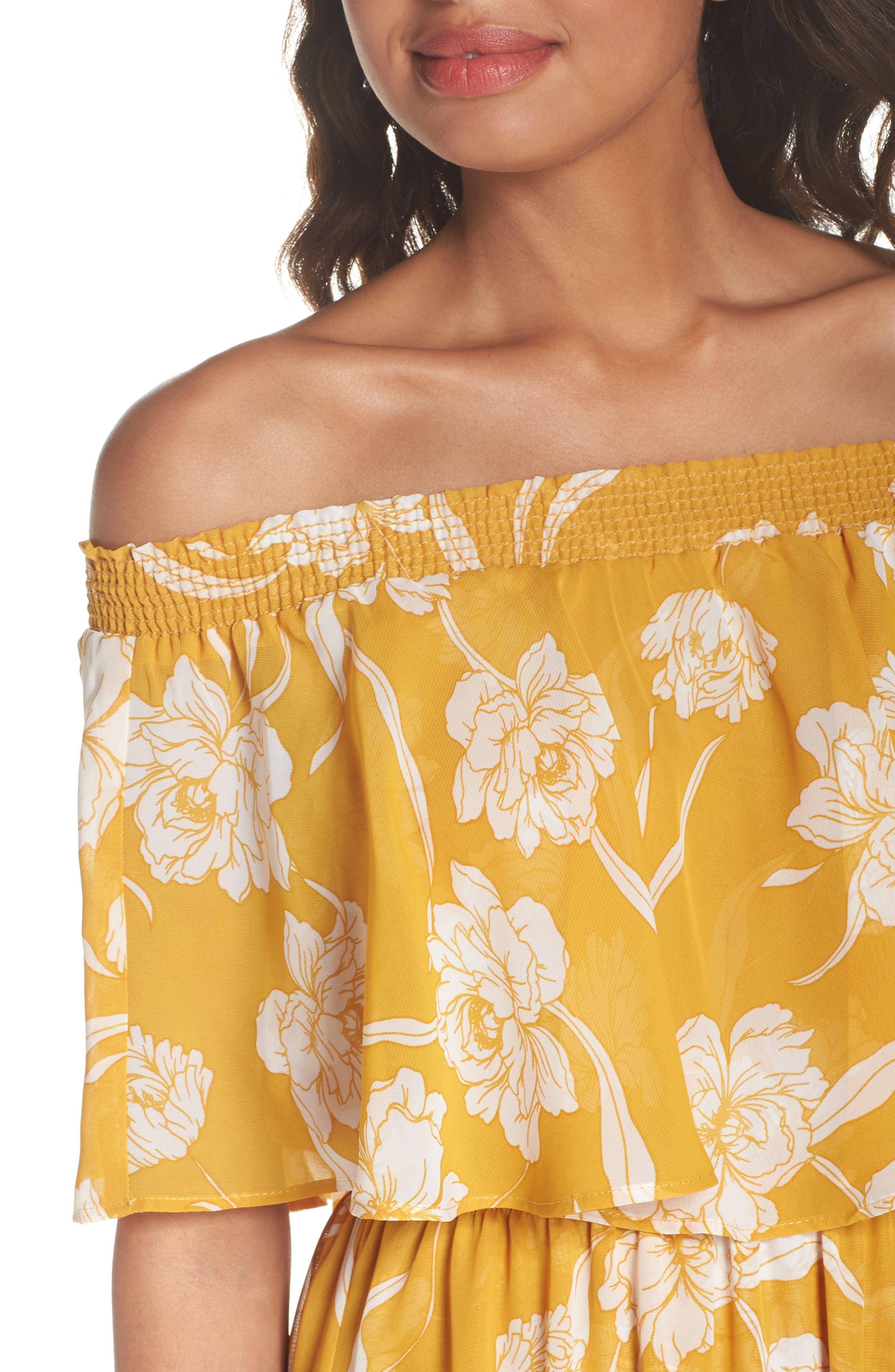 Hacienda Convertible Gown,                             Alternate thumbnail 4, color,                             Bloom Gold