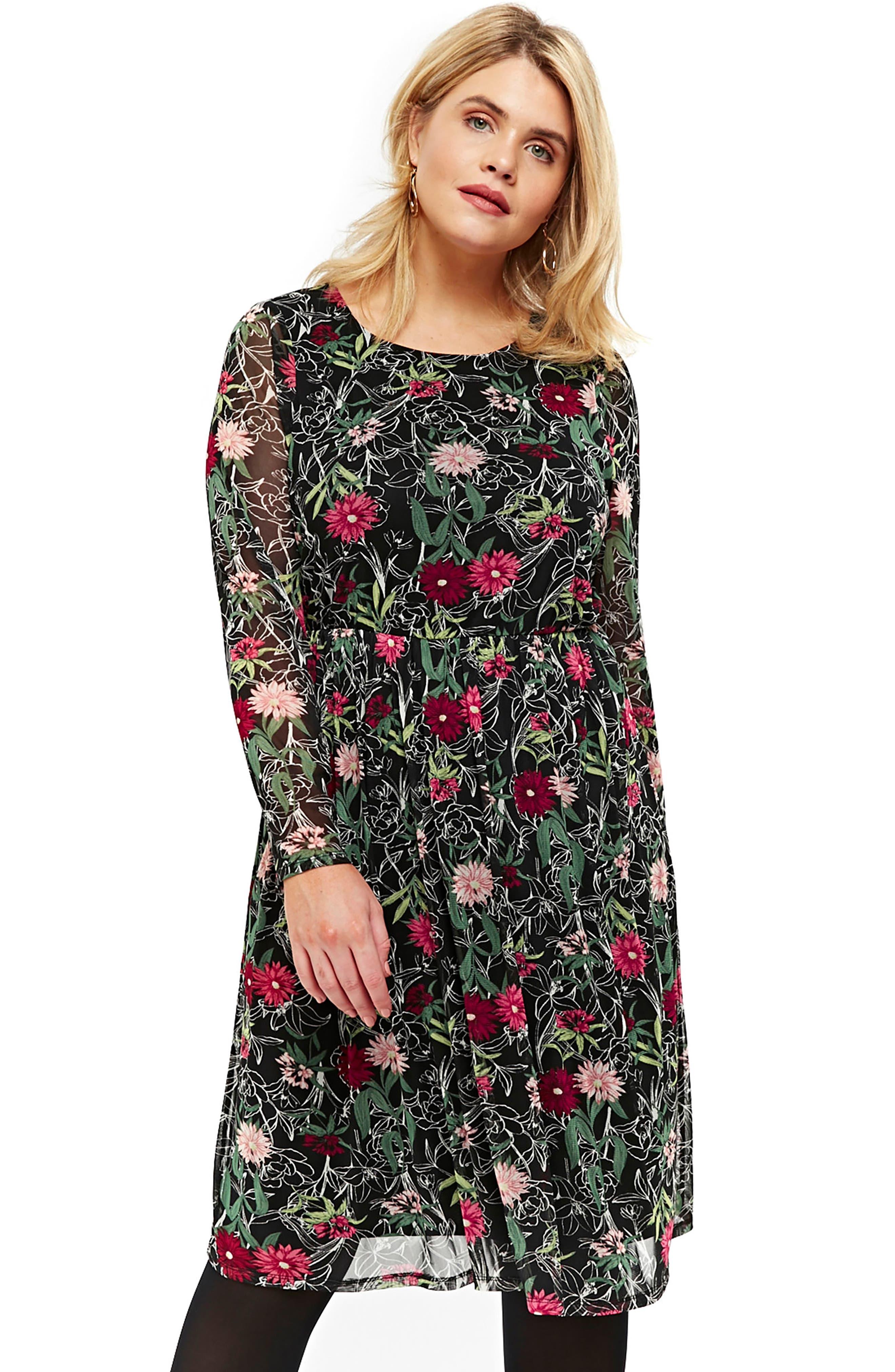 Floral Print Mesh Fit & Flare Dress,                             Alternate thumbnail 5, color,                             Multi Dark