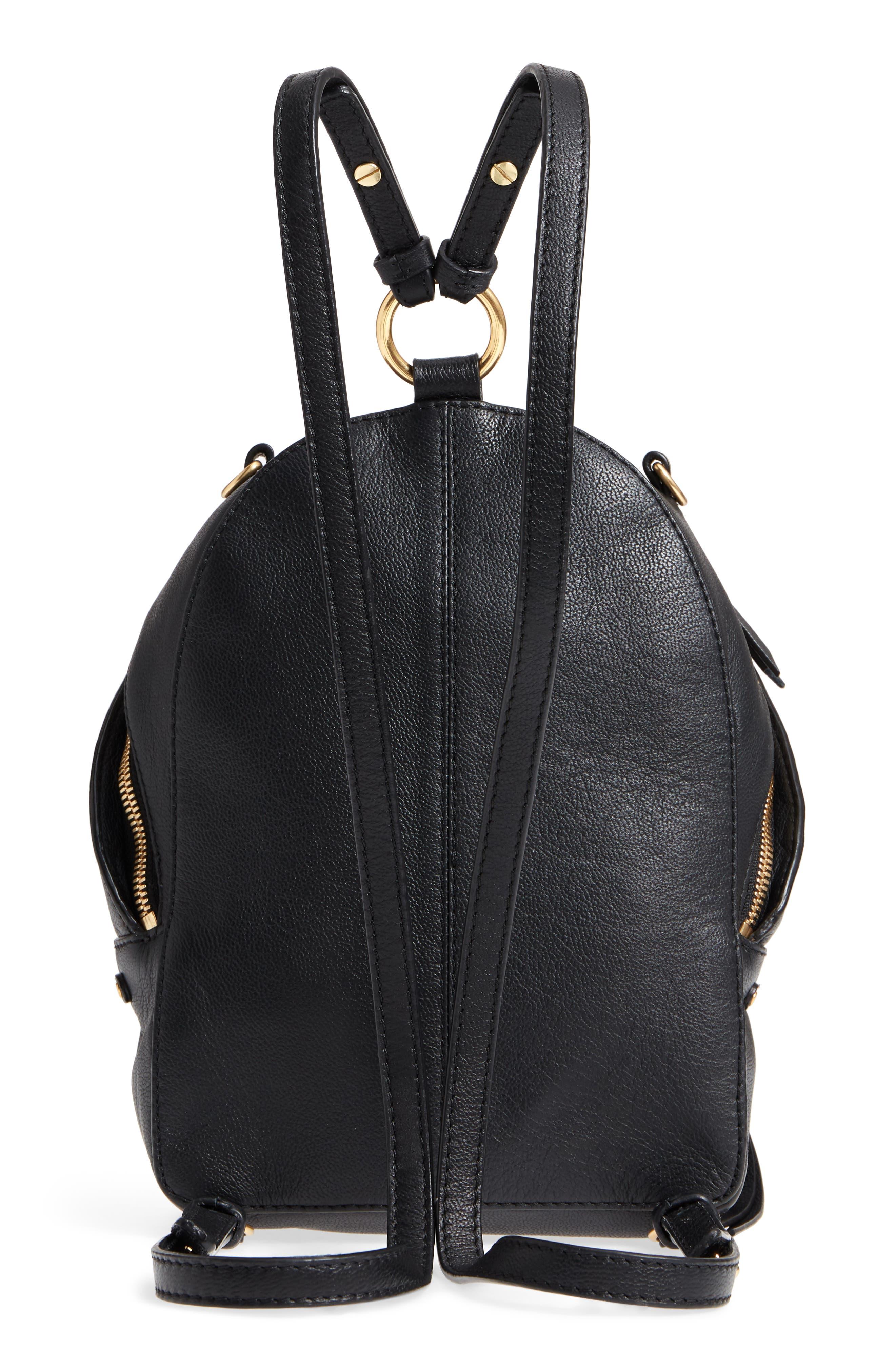 Mini Mino Leather Backpack,                             Alternate thumbnail 3, color,                             Black