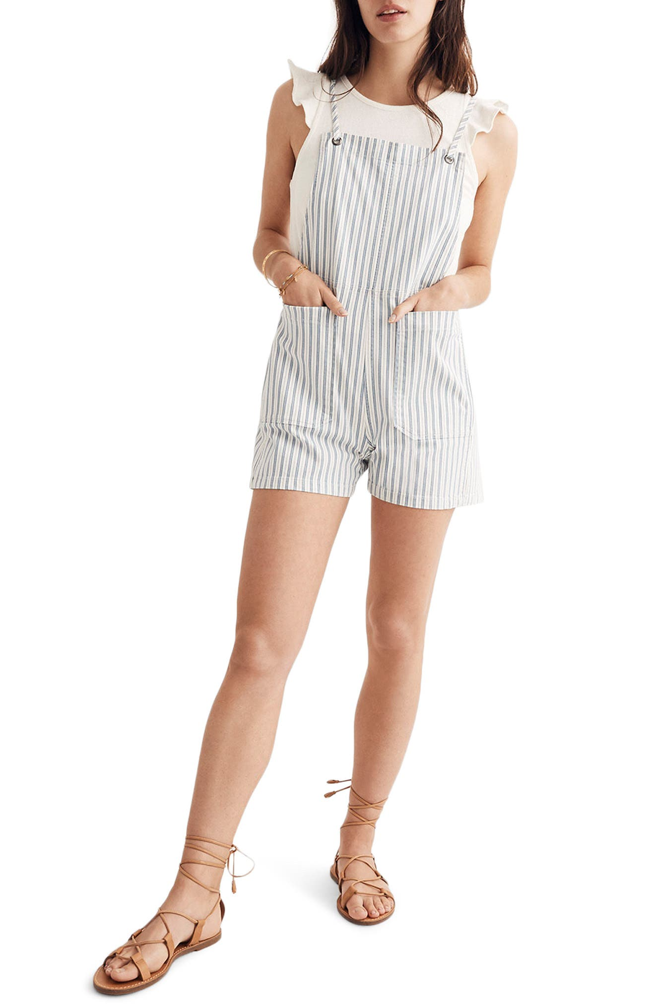 Tie Strap Denim Short Overalls,                         Main,                         color, Kathy Stripe