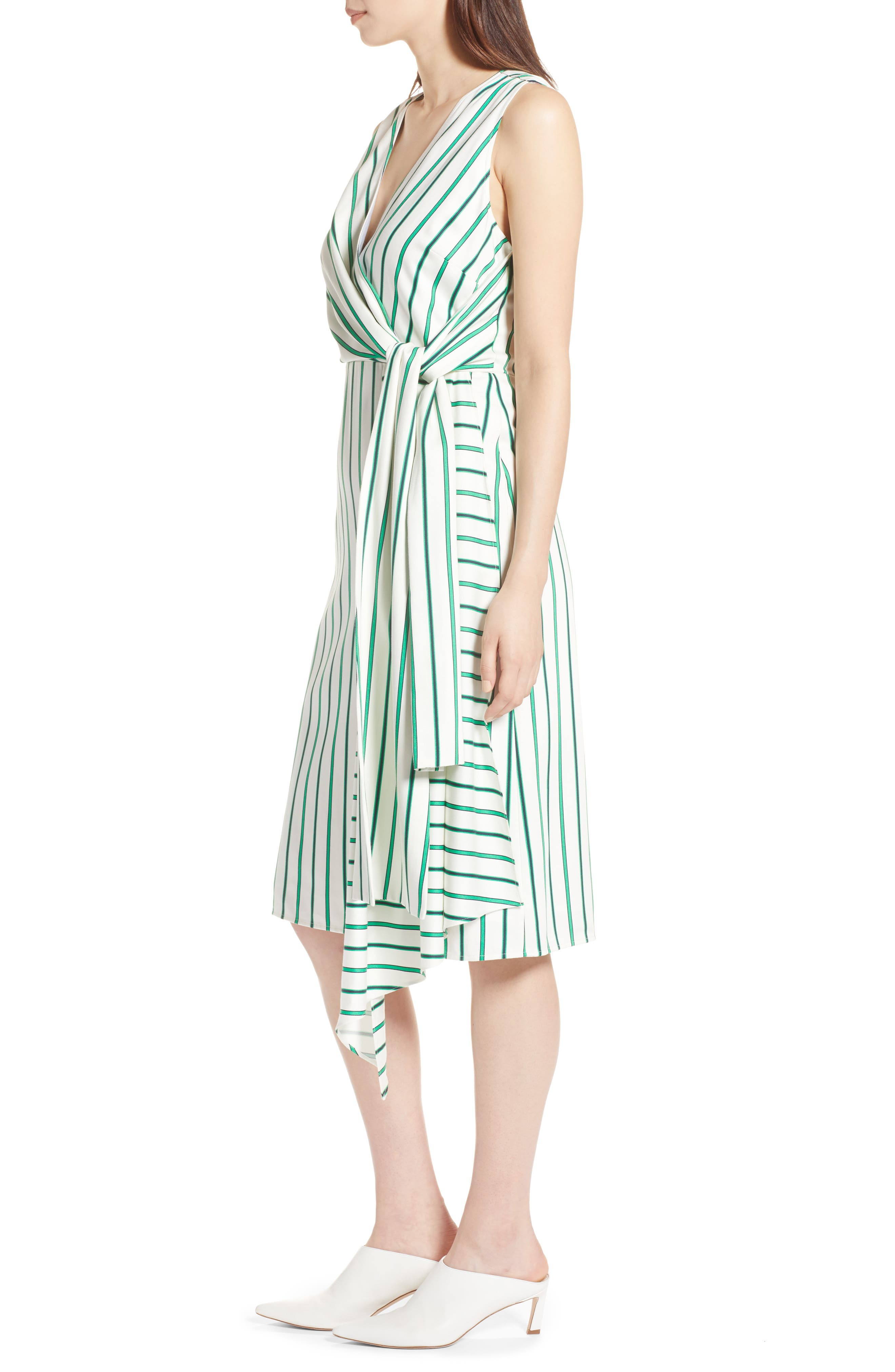 Draped Faux Wrap Dress,                             Alternate thumbnail 3, color,                             Ivory- Green Stripe
