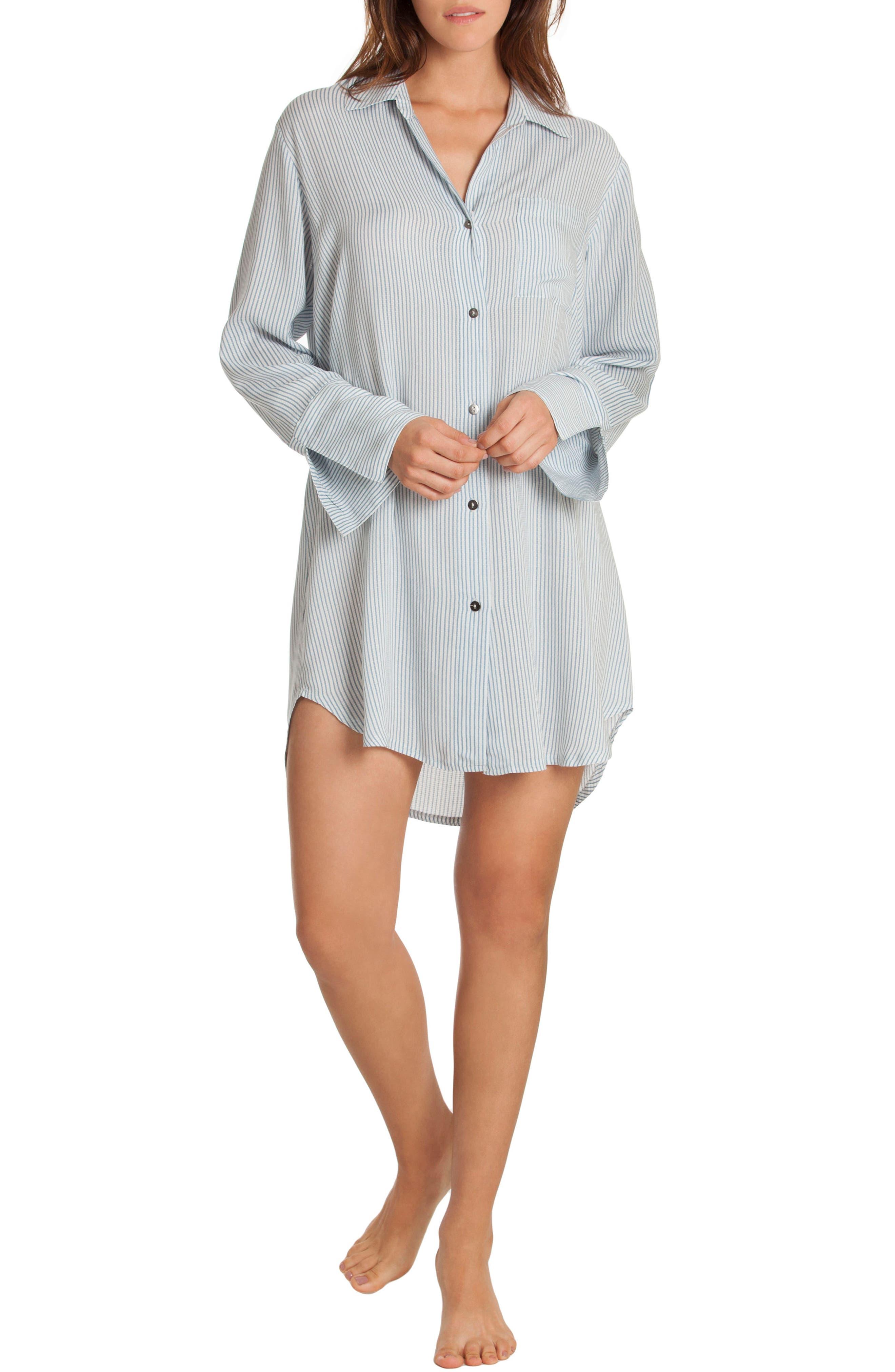 Sleep Shirt,                             Alternate thumbnail 4, color,                             Denim Stripe
