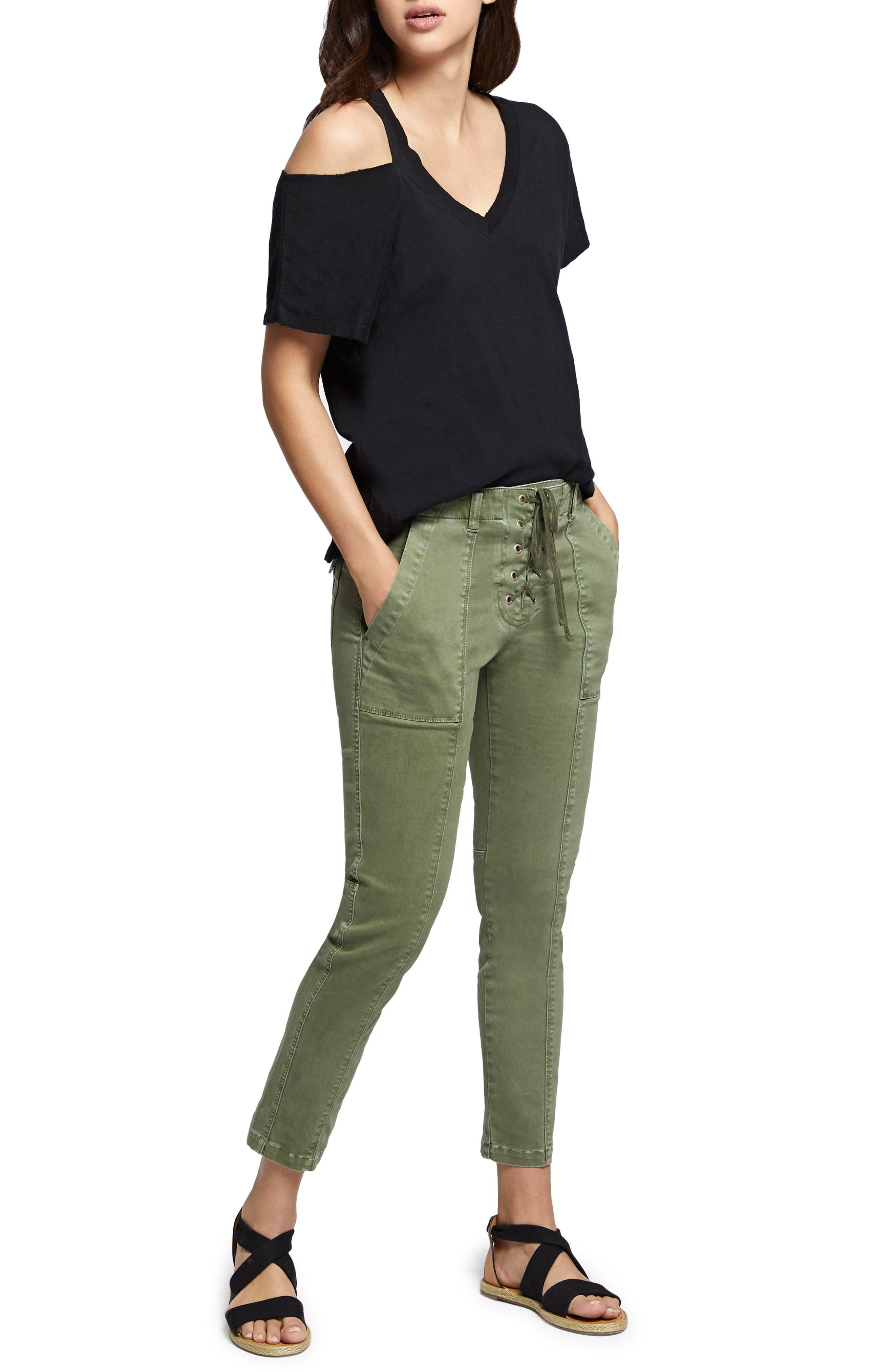 Peace Lace-Up Pants,                             Alternate thumbnail 4, color,                             Cadet