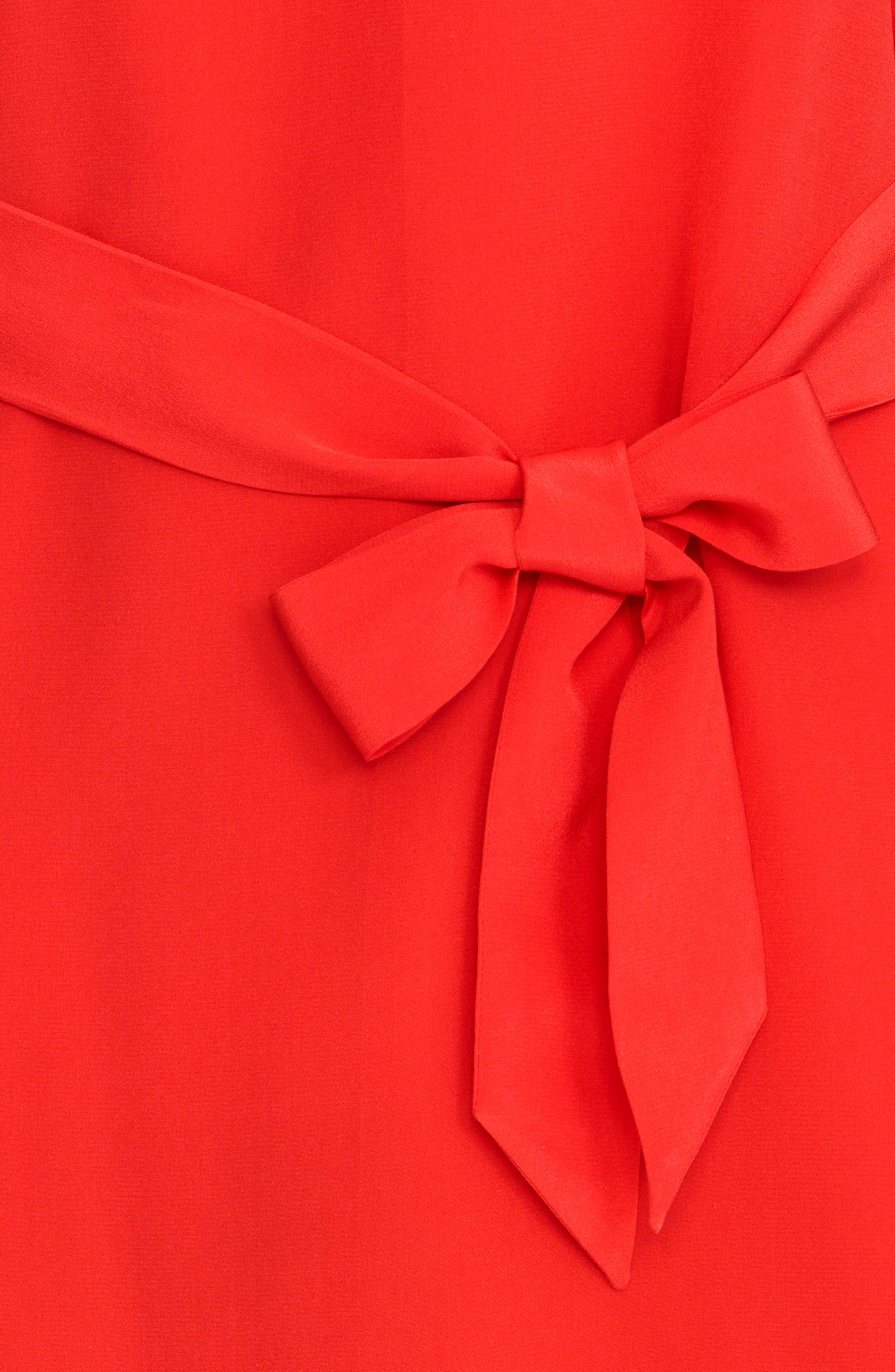Anabella Belted Silk Dress,                             Alternate thumbnail 5, color,                             Coral Red