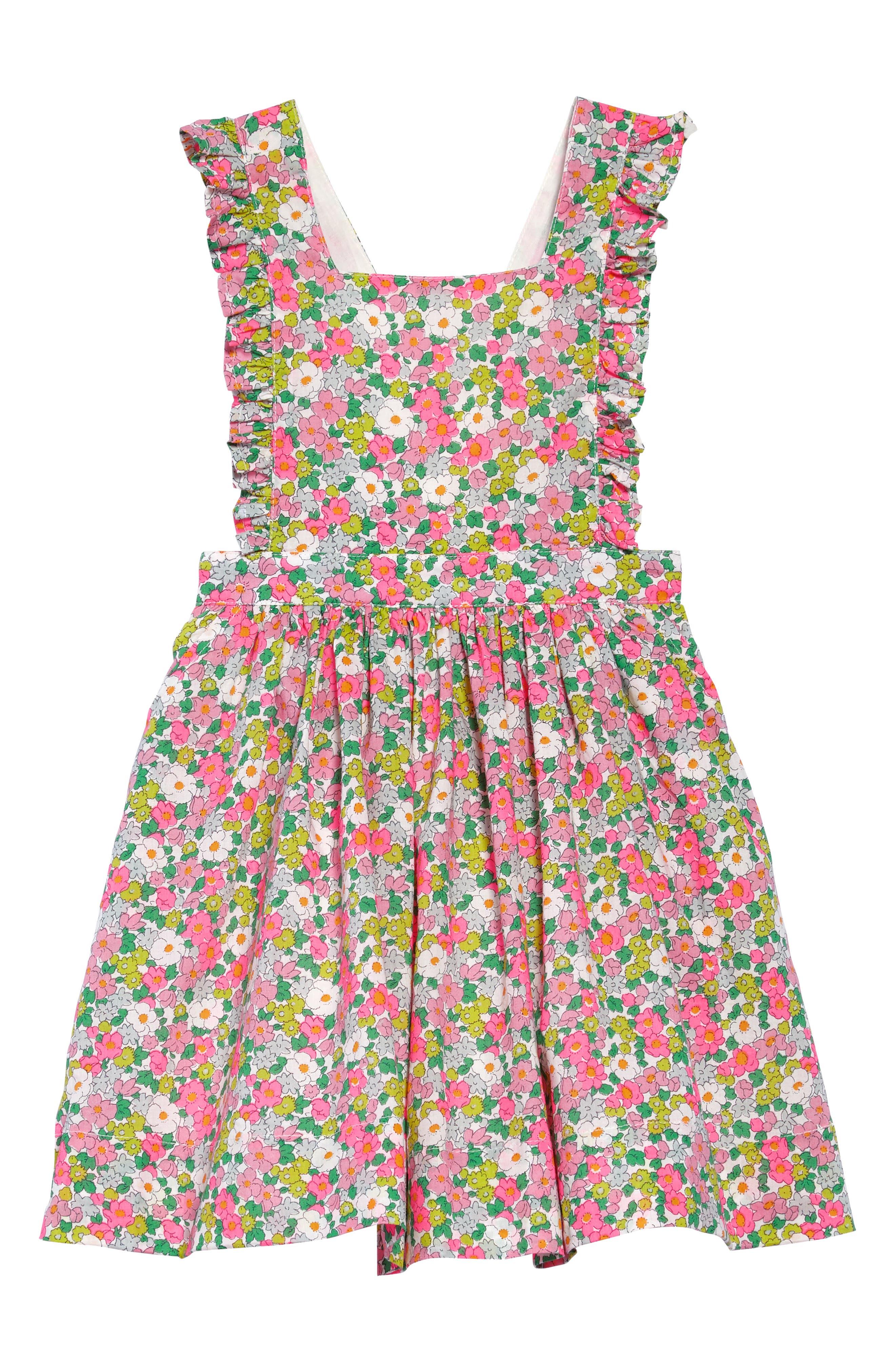 Frill Cross Back Woven Dress,                         Main,                         color, Knockout Pink Vintage Floral