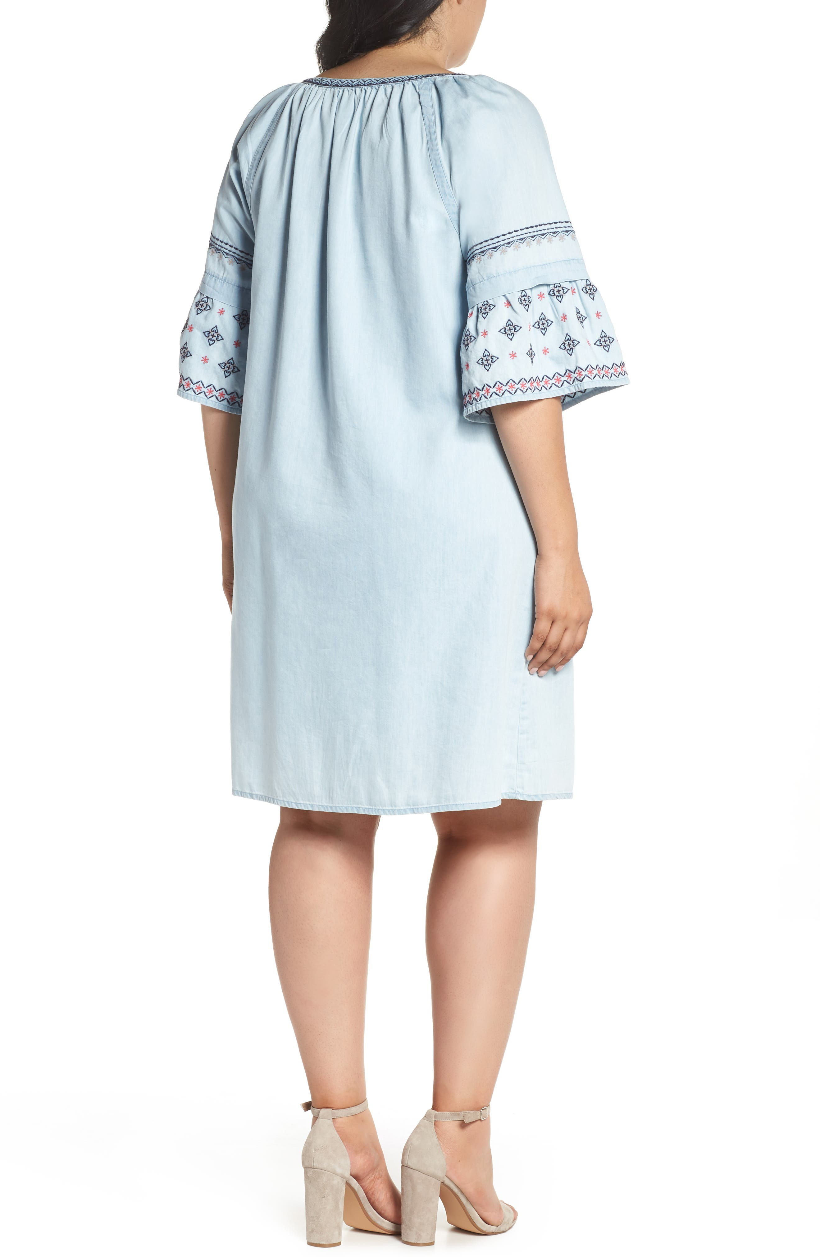 Embroidered Chambray Dress,                             Alternate thumbnail 2, color,                             Spectrum Wash