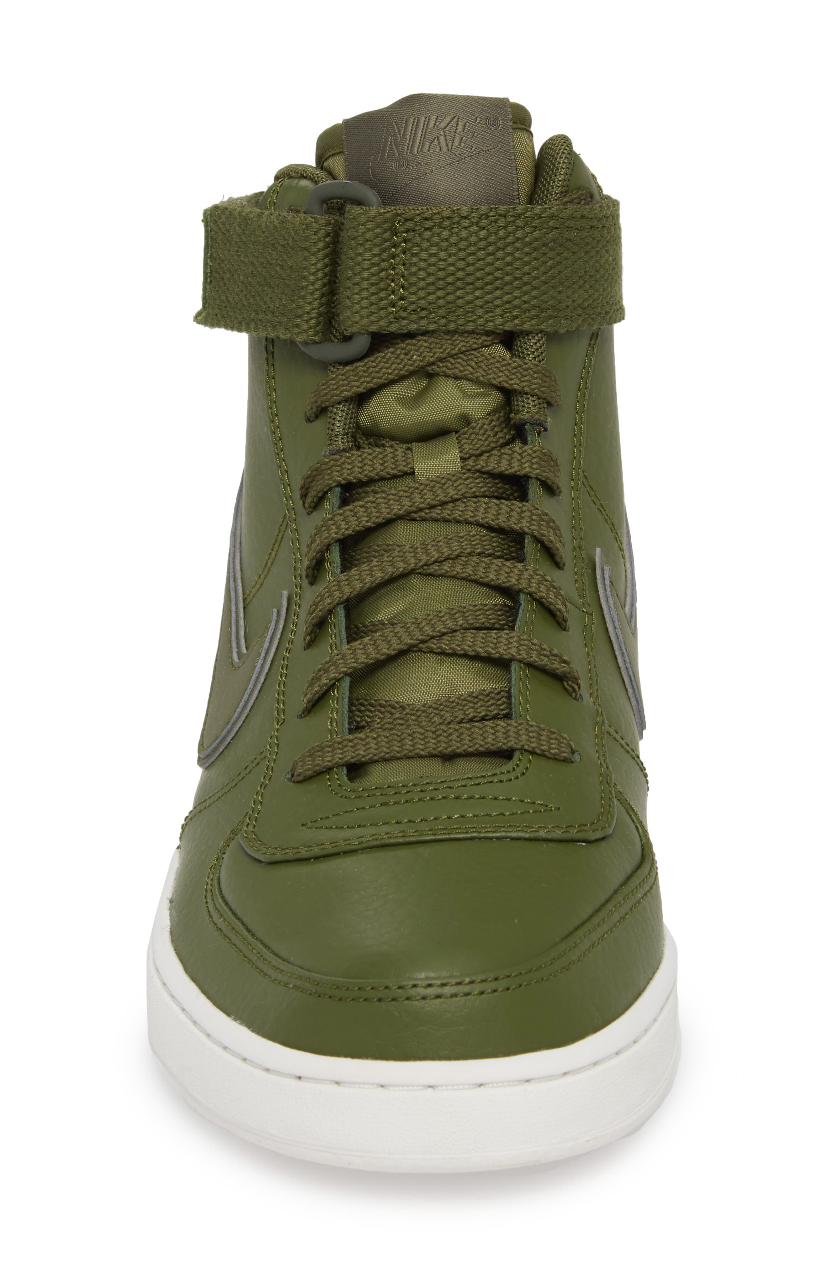 Vandal High Supreme Leather Sneaker,                             Alternate thumbnail 4, color,                             Legion Green/ Summit White