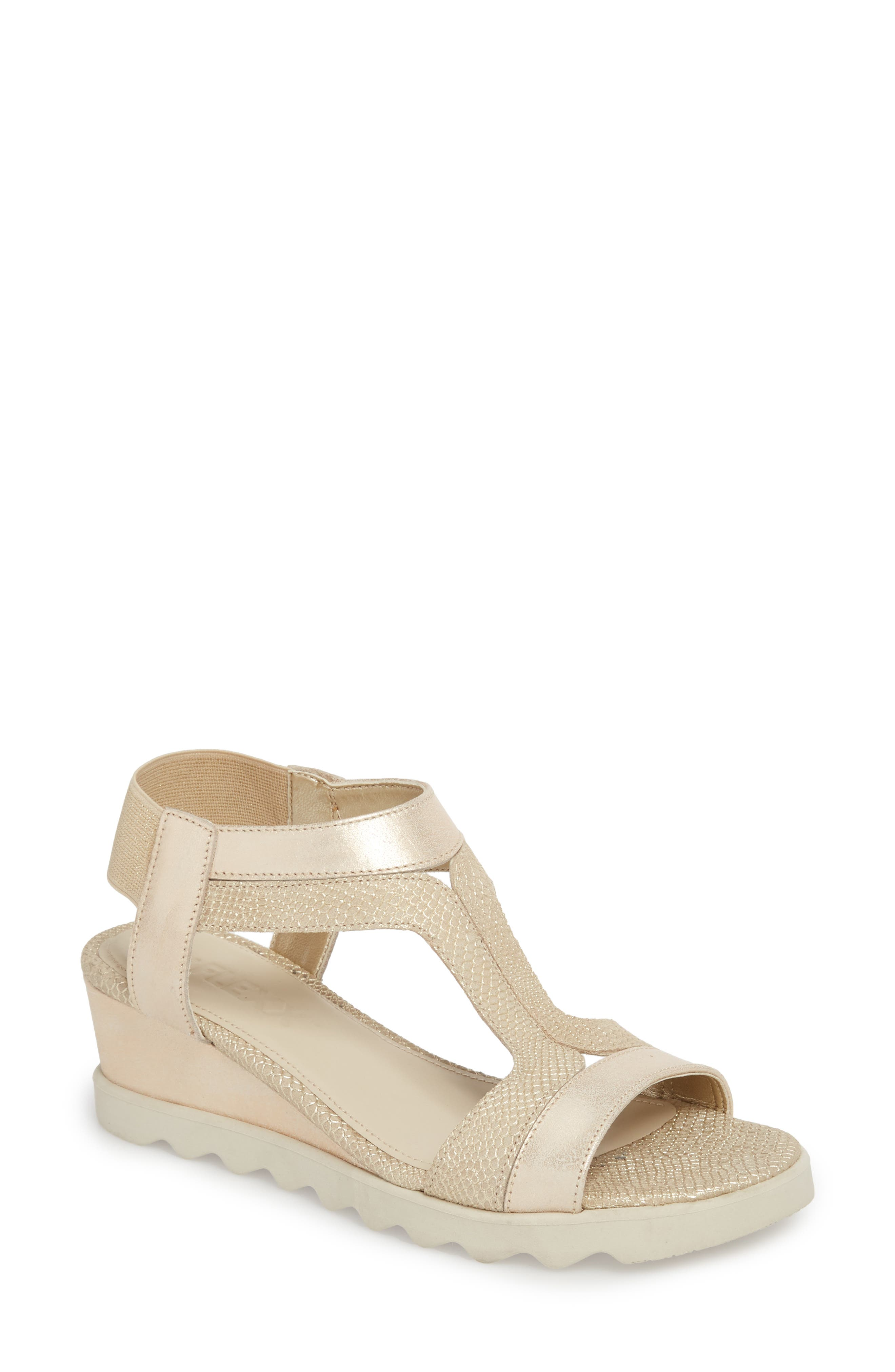 Give A Hoot Wedge Sandal,                         Main,                         color, Gold Leather