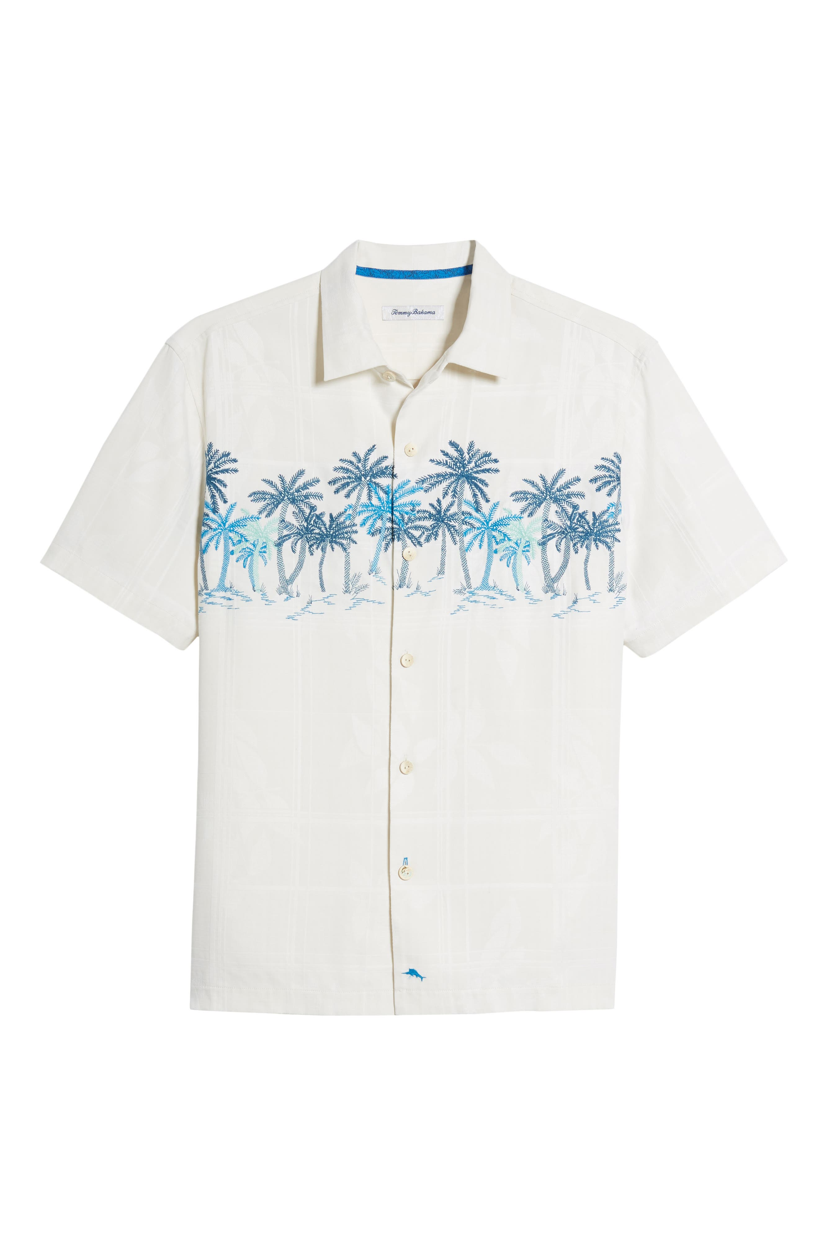 Puerto Vallarta Palms Silk Camp Shirt,                             Alternate thumbnail 6, color,                             Continental
