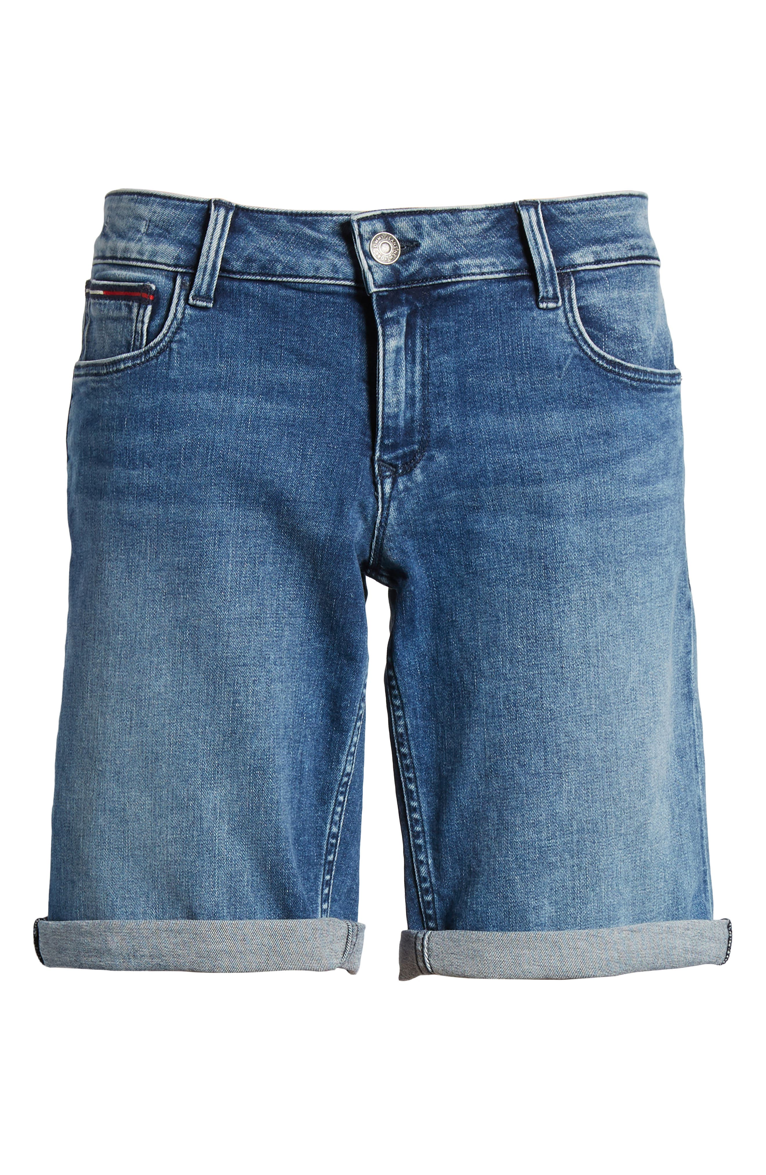 Classic Long Denim Shorts,                             Alternate thumbnail 8, color,                             Newport Mid Blue Str