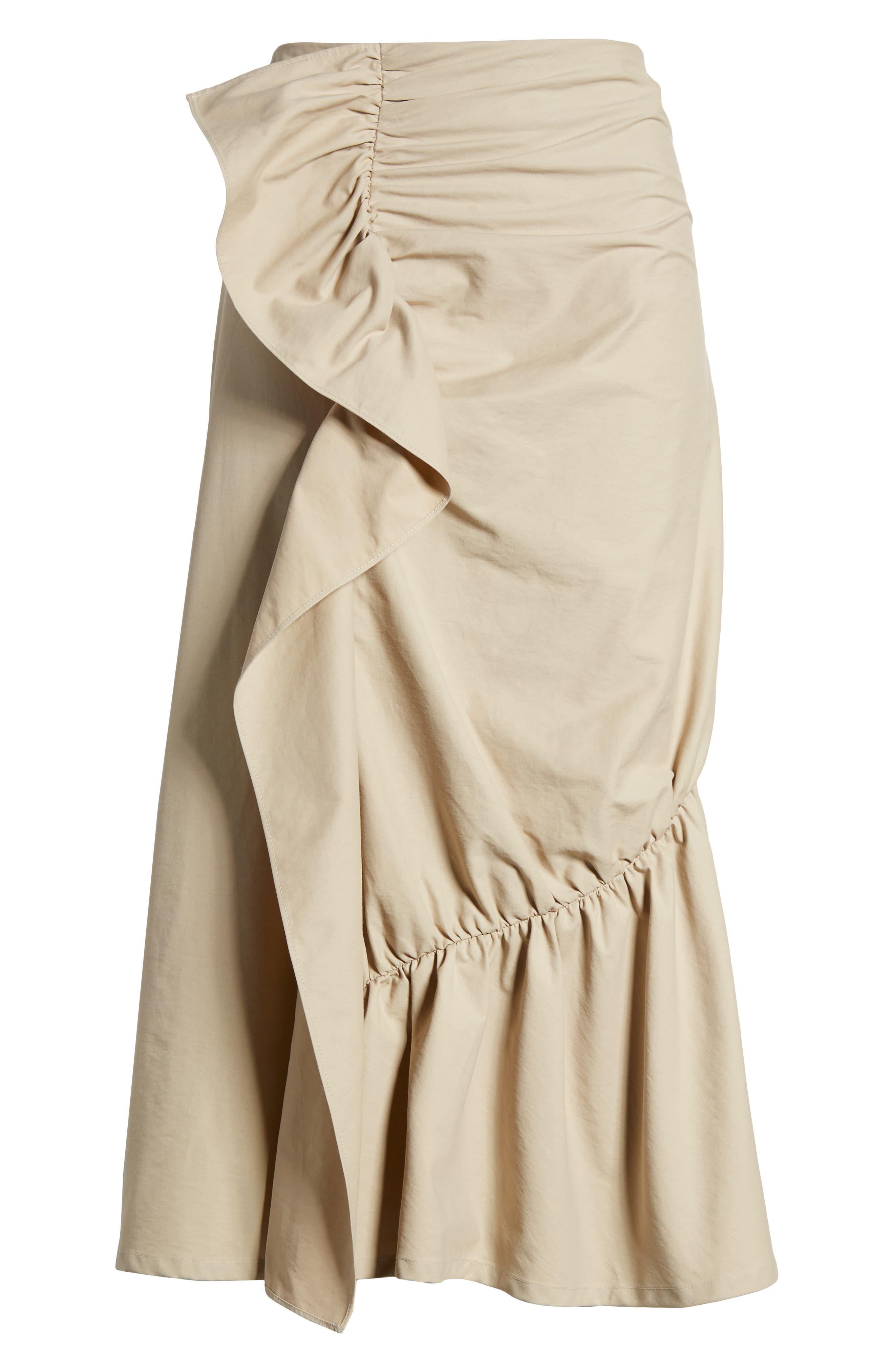 Ruffle Front Skirt,                             Alternate thumbnail 6, color,                             Tan Thread