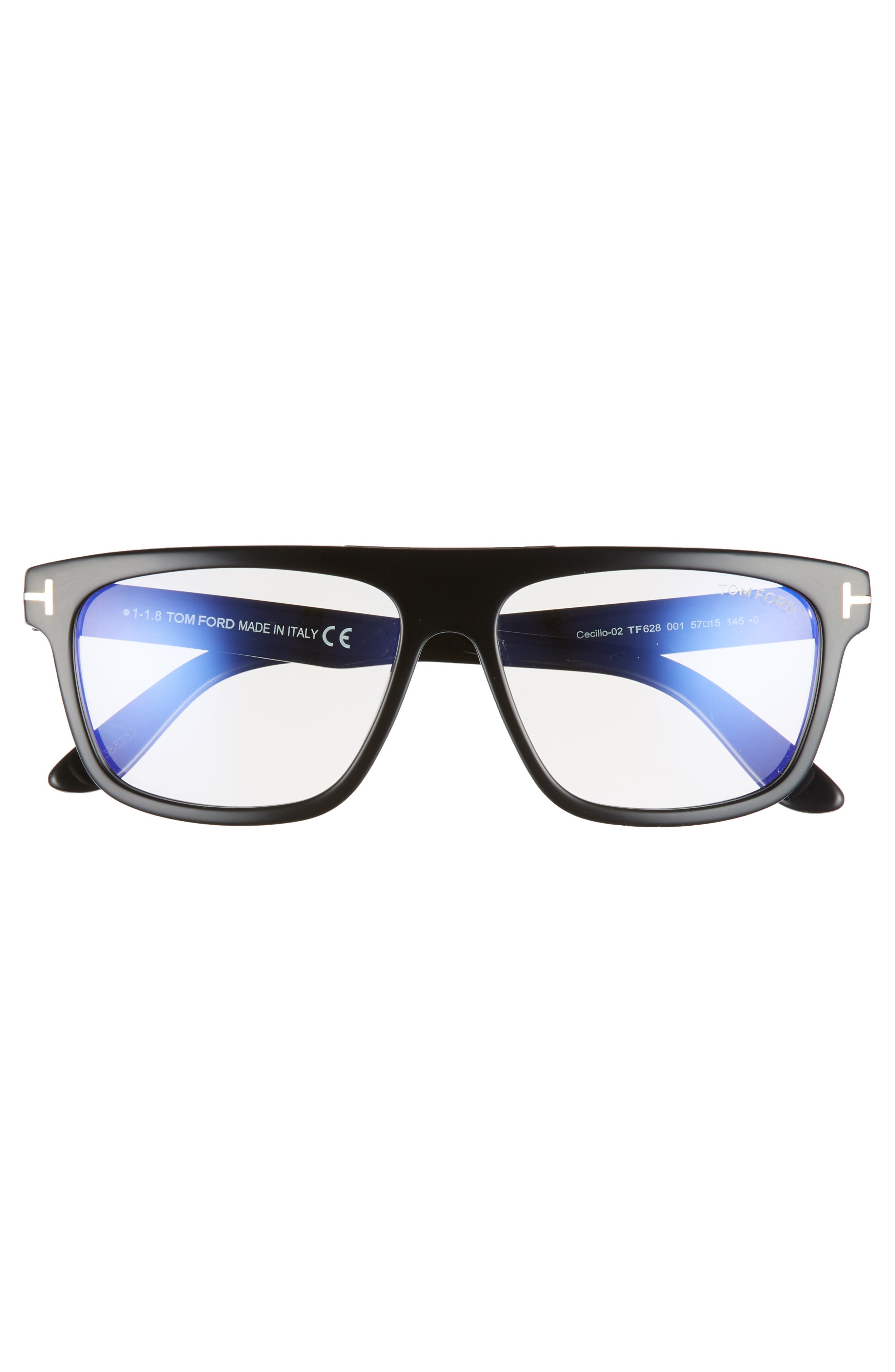 Cecilio 57mm Blue Block Optical Glasses,                             Alternate thumbnail 3, color,                             Shiny Black