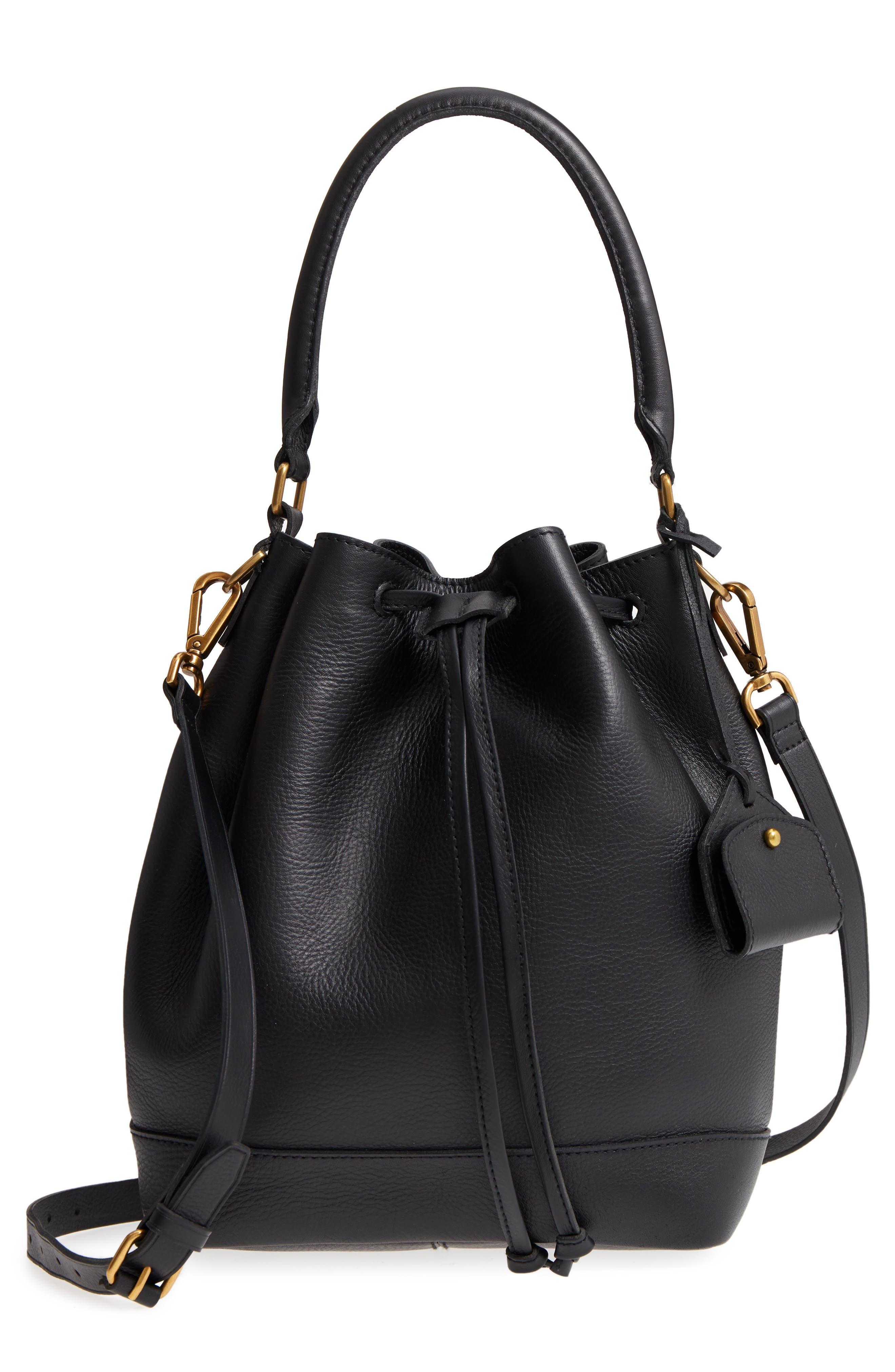 Lafayette Leather Bucket Bag,                             Main thumbnail 1, color,                             True Black