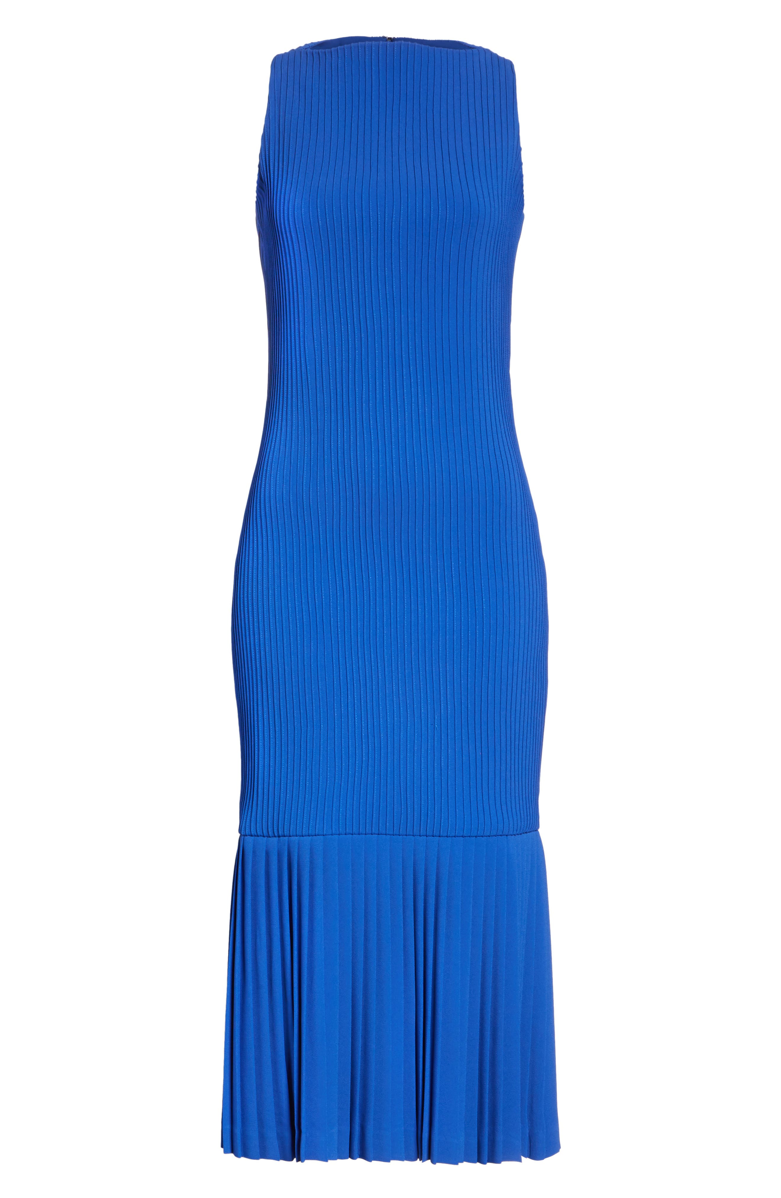 Pintuck Flare Hem Dress,                             Alternate thumbnail 6, color,                             Cobalt