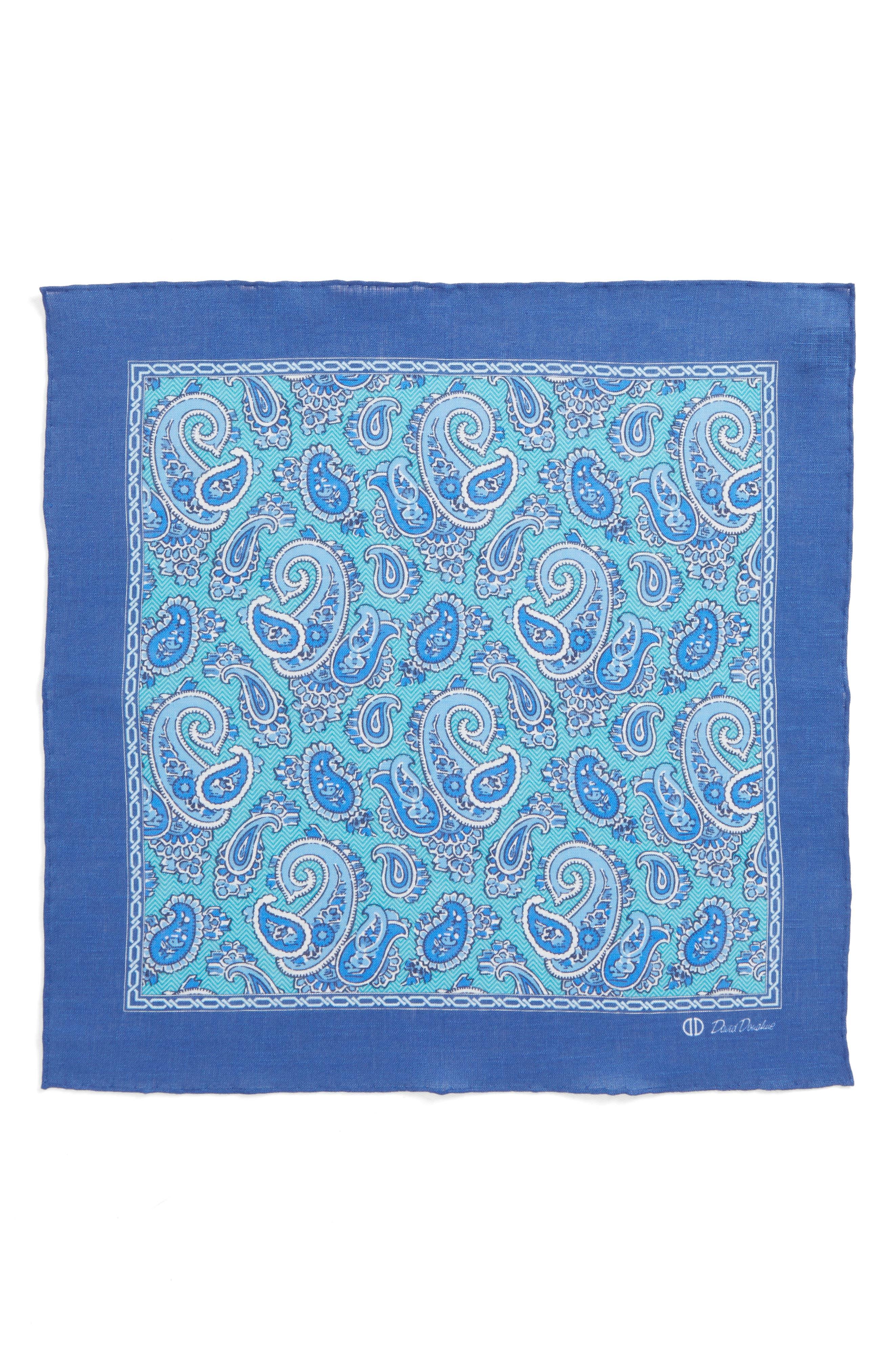 Paisley Linen Pocket Square,                             Alternate thumbnail 2, color,                             Seafoam