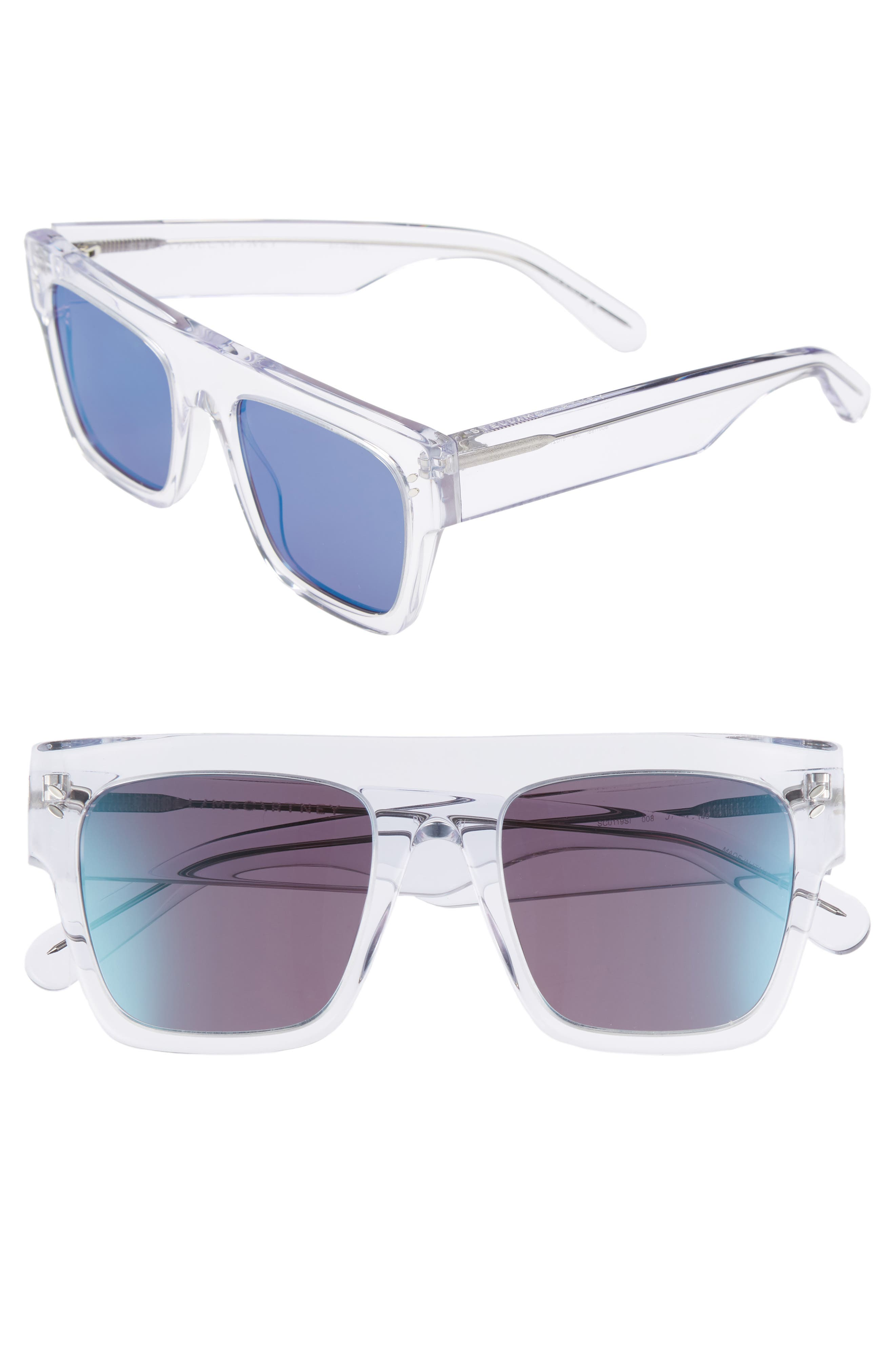 51mm Flattop Sunglasses,                             Main thumbnail 1, color,                             Crystal