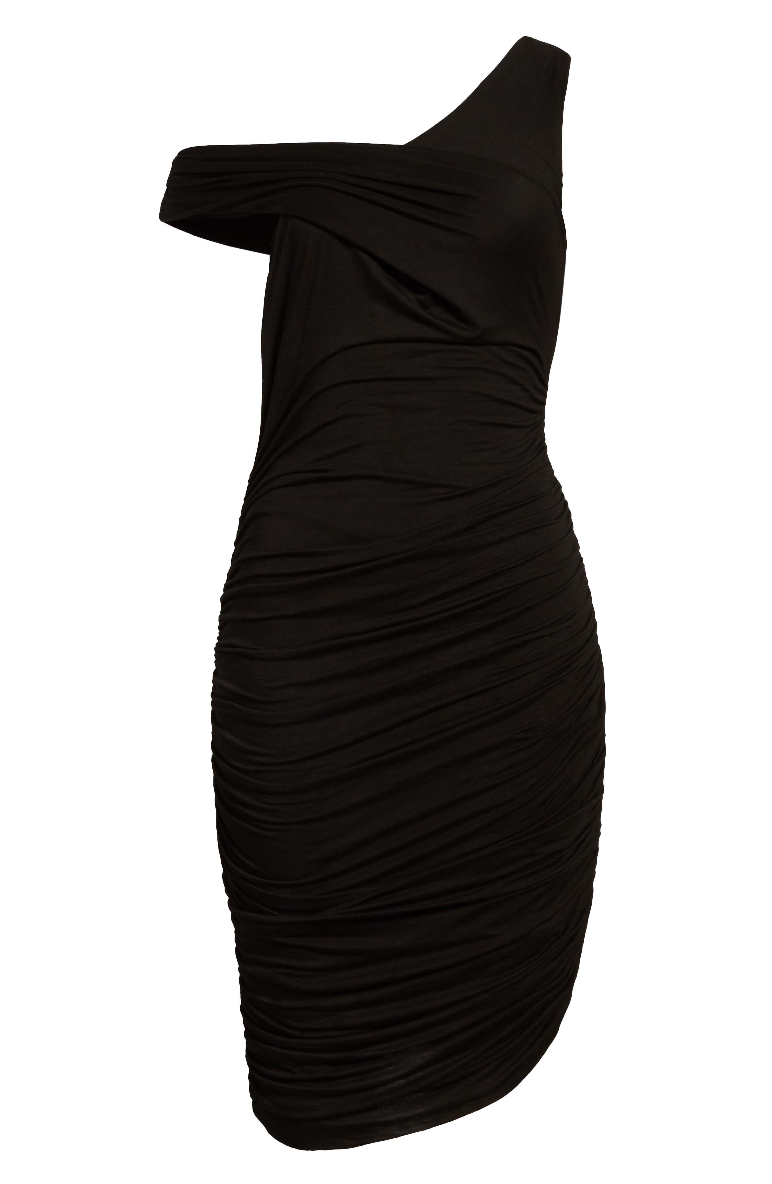 Ruched Sheath Dress,                             Alternate thumbnail 7, color,                             Black Multi