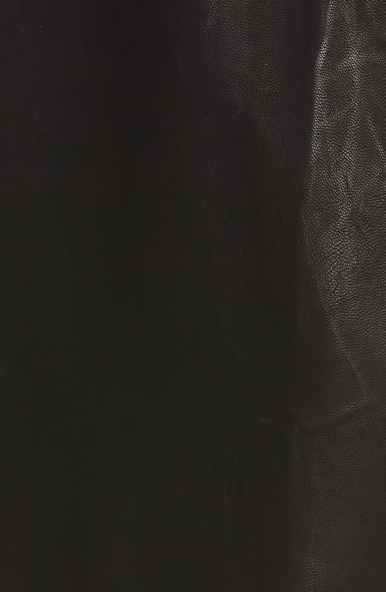 Paperbag Faux Leather Miniskirt,                             Alternate thumbnail 5, color,                             Black