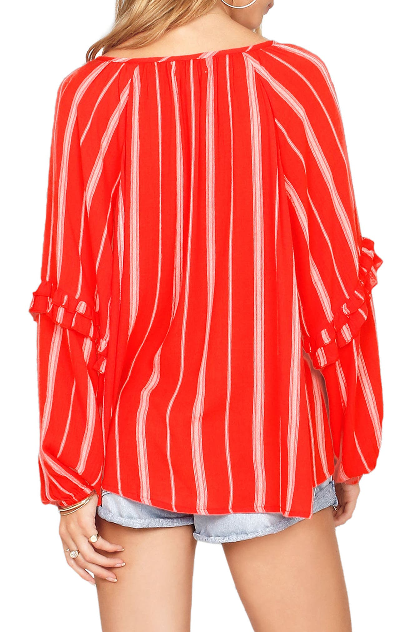 Solare Stripe Top,                             Alternate thumbnail 2, color,                             Rebel Red