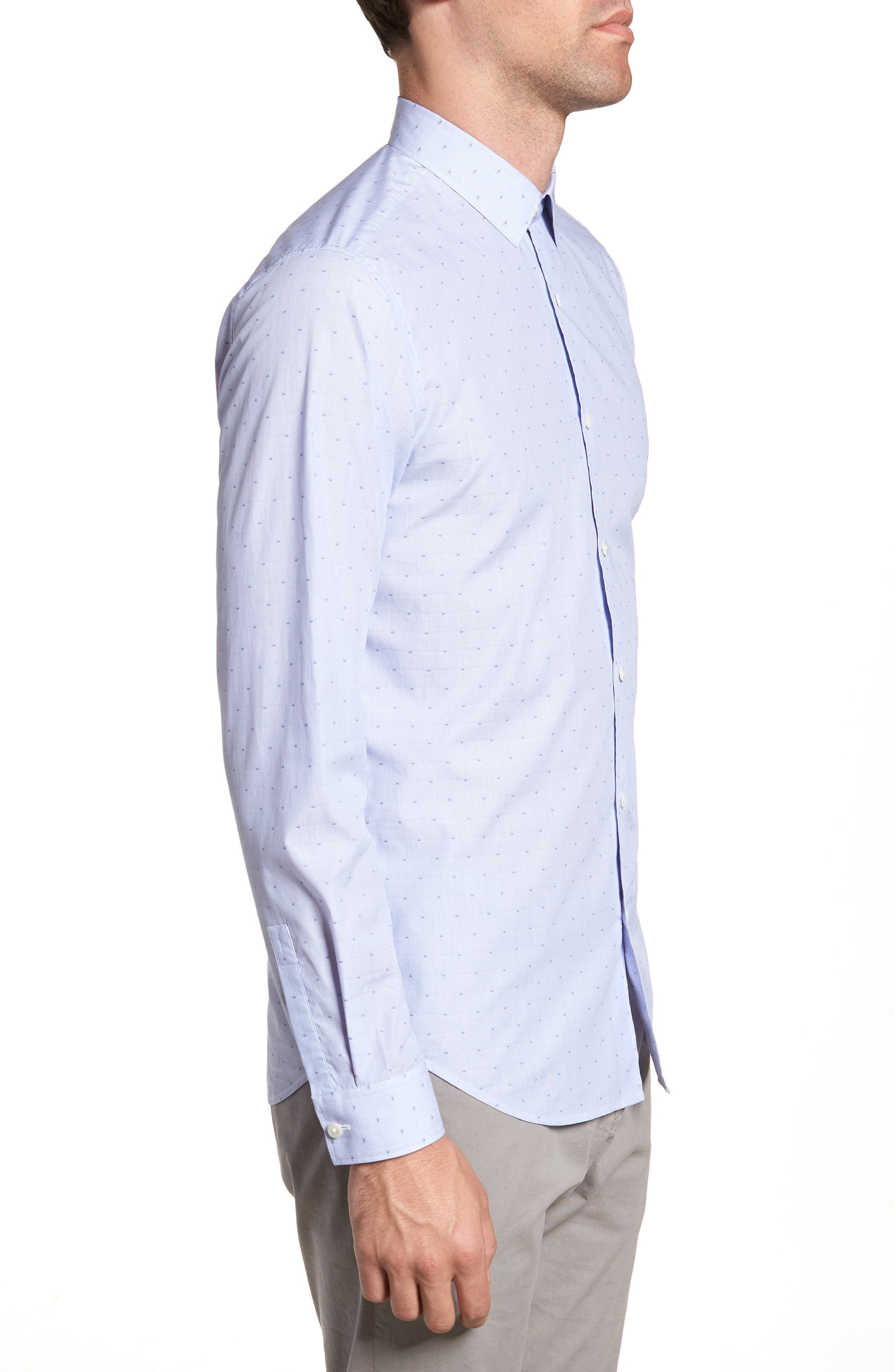 Murrary Coupe Trim Fit Sport Shirt,                             Alternate thumbnail 3, color,                             Finch