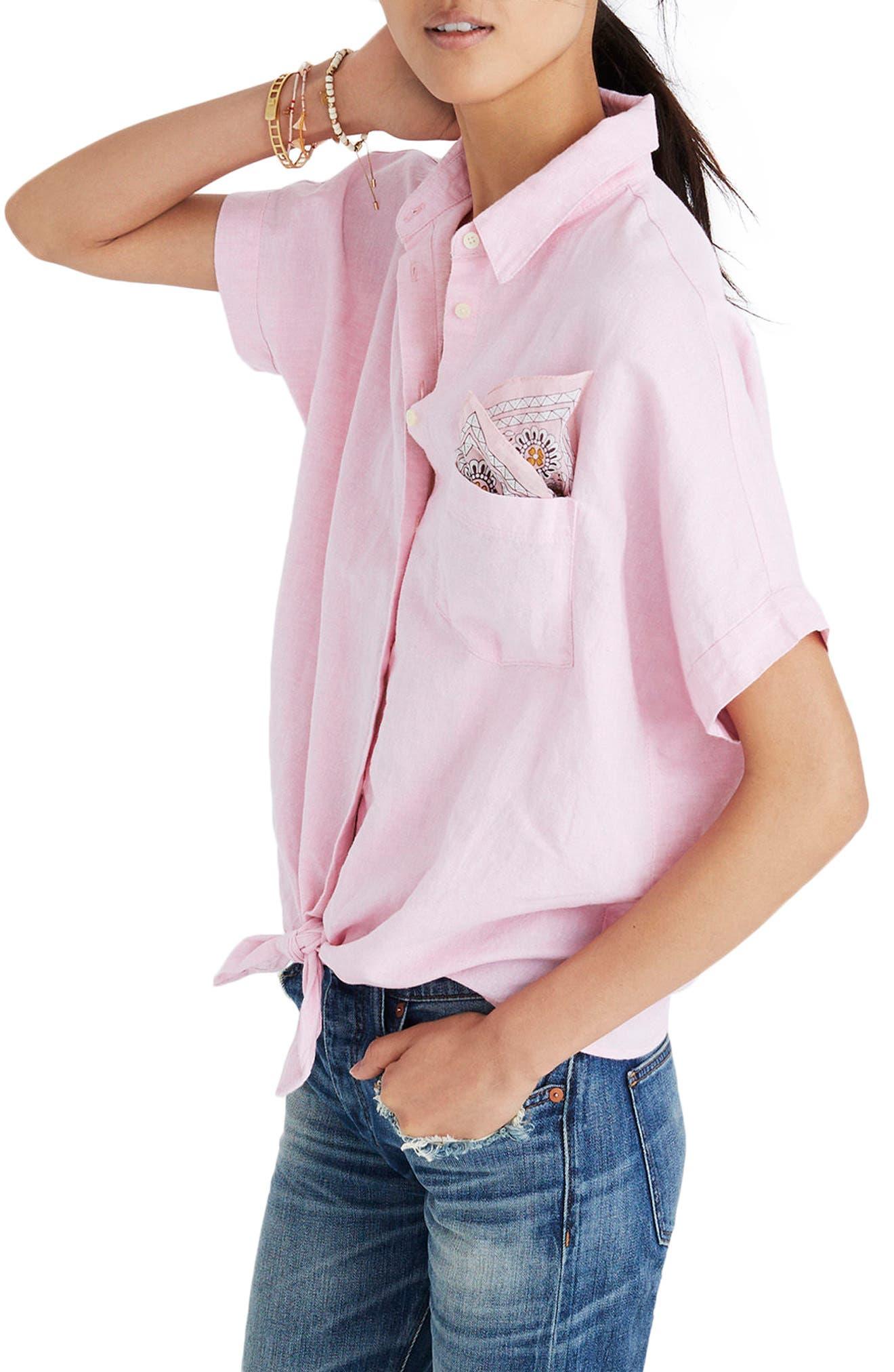 Tie Front Short Sleeve Top,                             Alternate thumbnail 3, color,                             Paris Pink