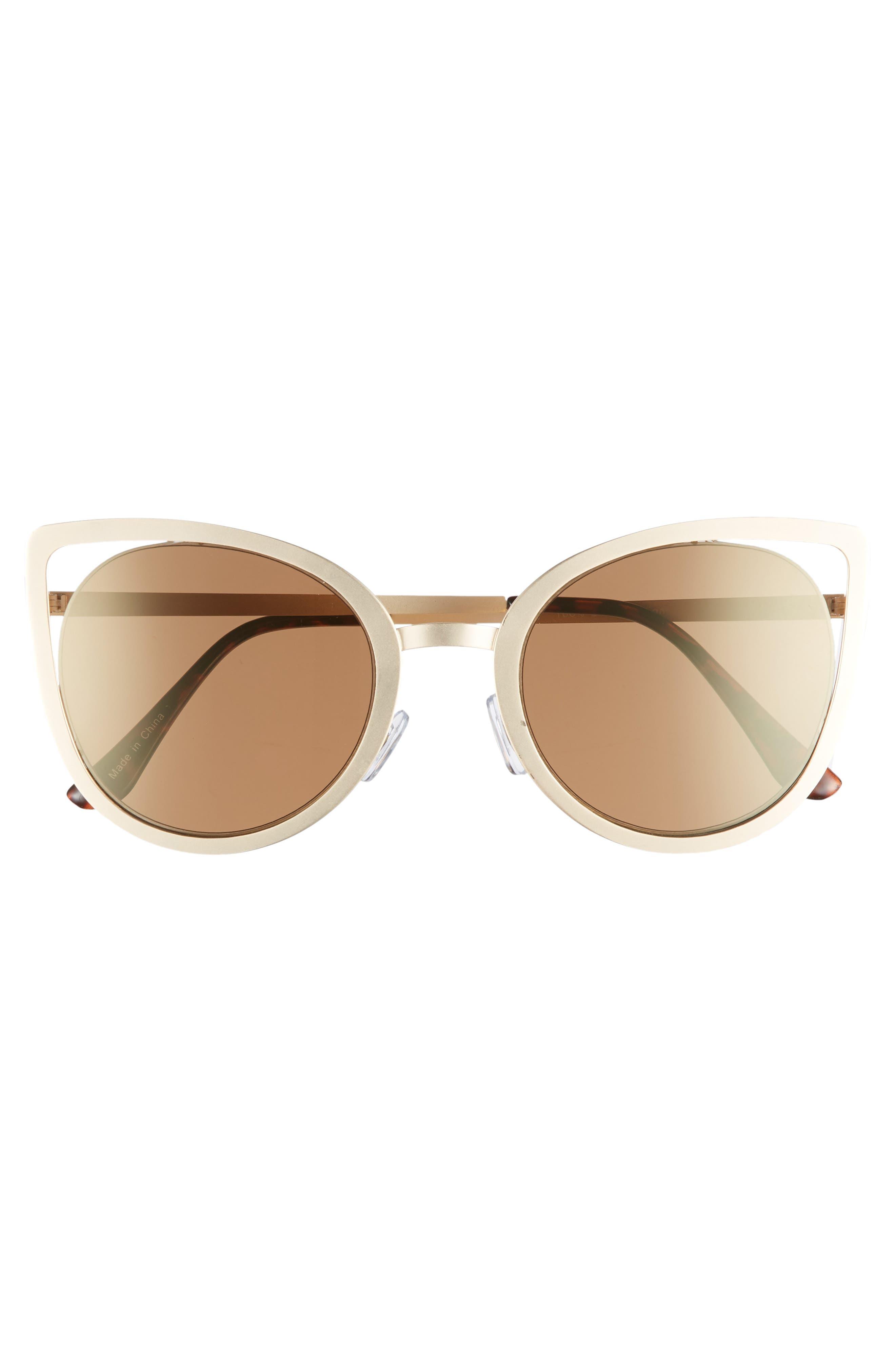 53mm Cutout Cat Eye Sunglasses,                             Alternate thumbnail 3, color,                             Gold