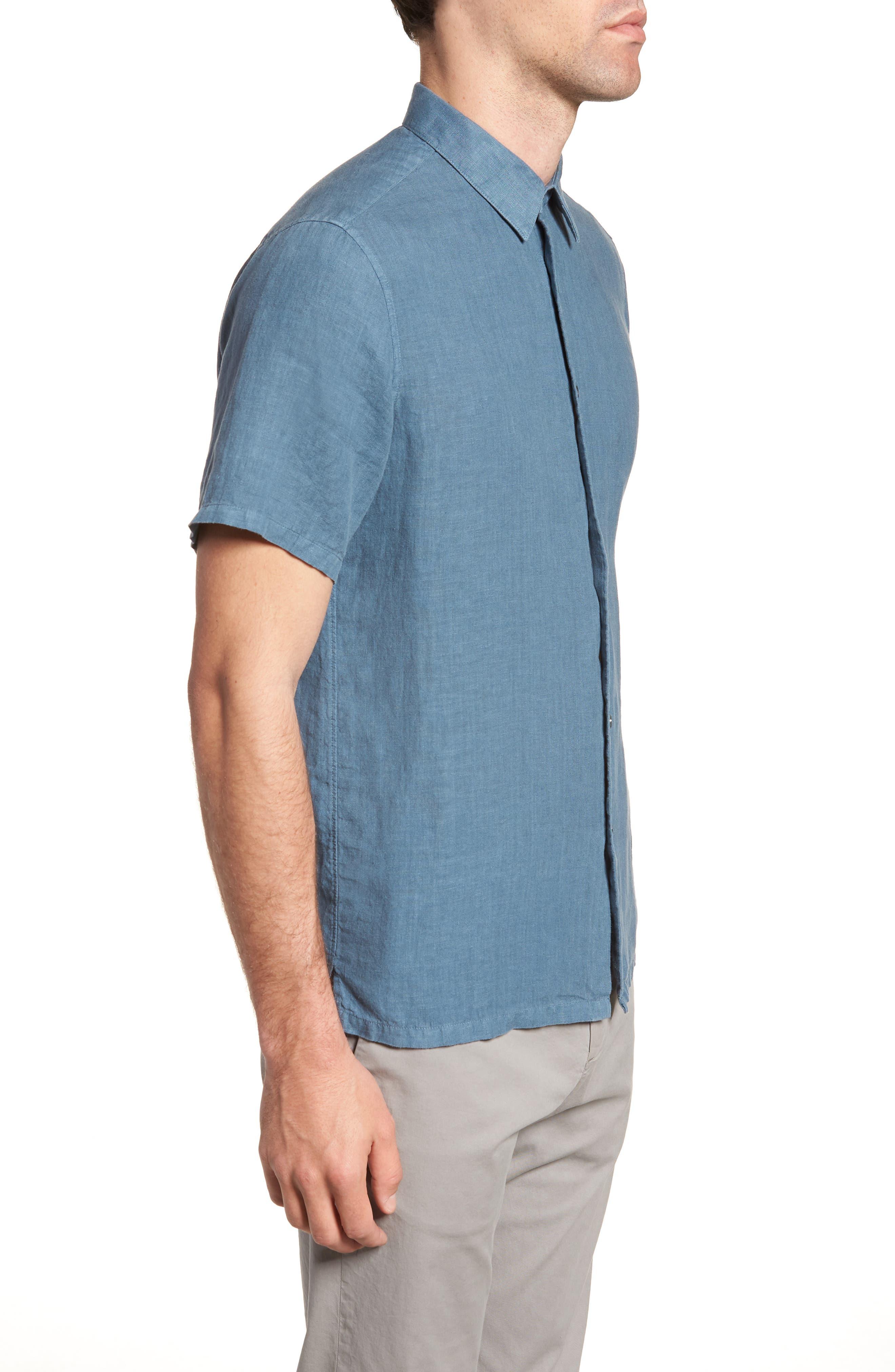 Irving Trim Fit Linen Short Sleeve Sport Shirt,                             Alternate thumbnail 3, color,                             Hydro