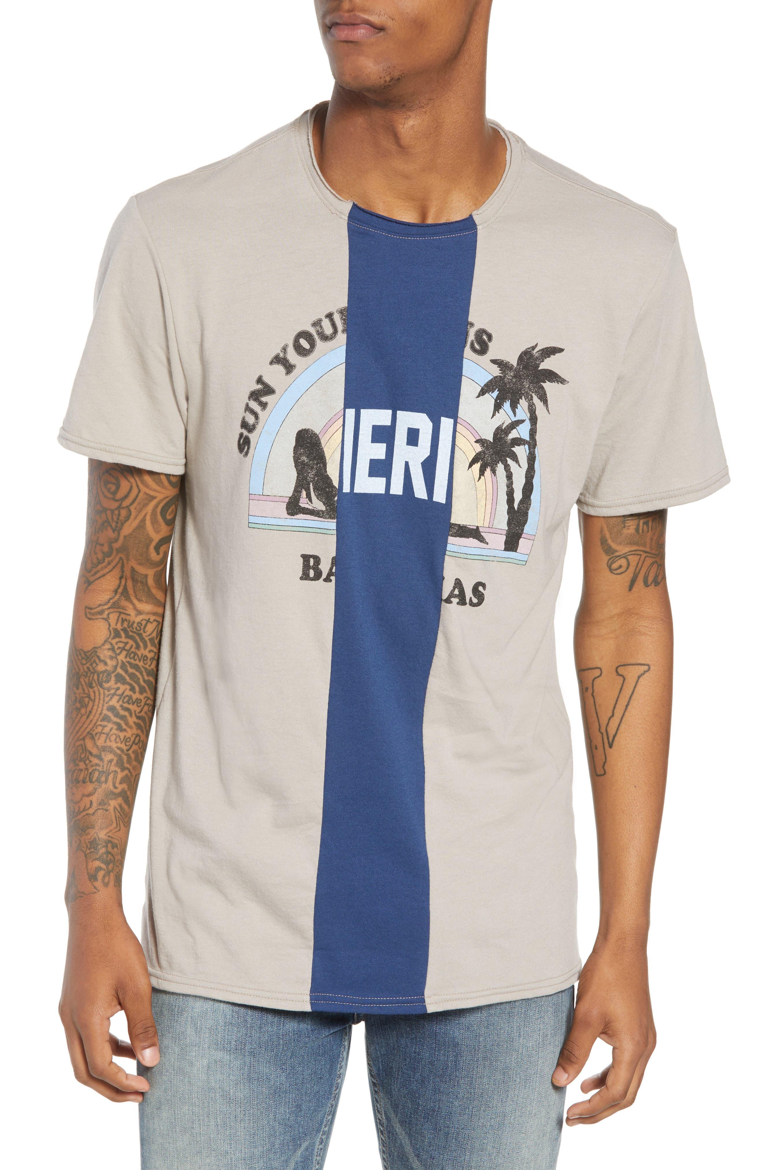Tri-Splice T-Shirt,                             Main thumbnail 1, color,                             Beige Navy Sun Splice
