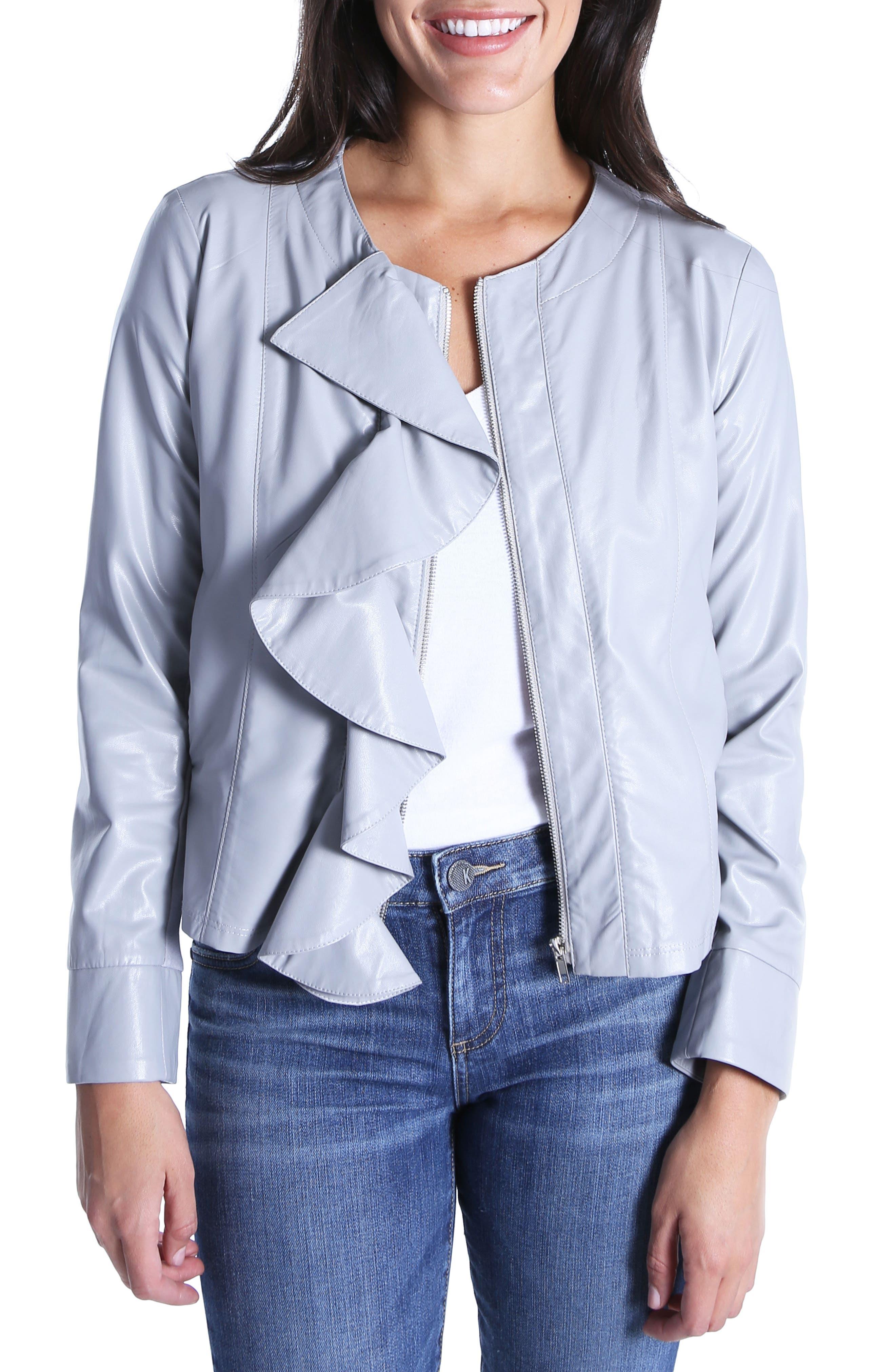 Dahliana Faux Leather Jacket,                             Main thumbnail 1, color,                             Grey
