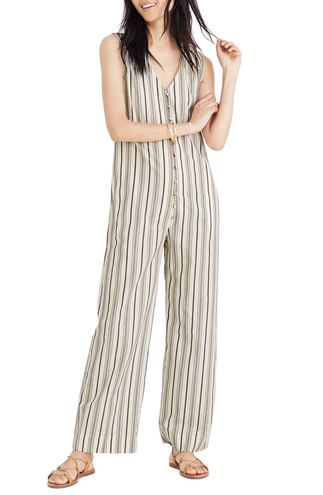 Stripe Button Down Jumpsuit,                             Main thumbnail 1, color,                             Cloud Lining