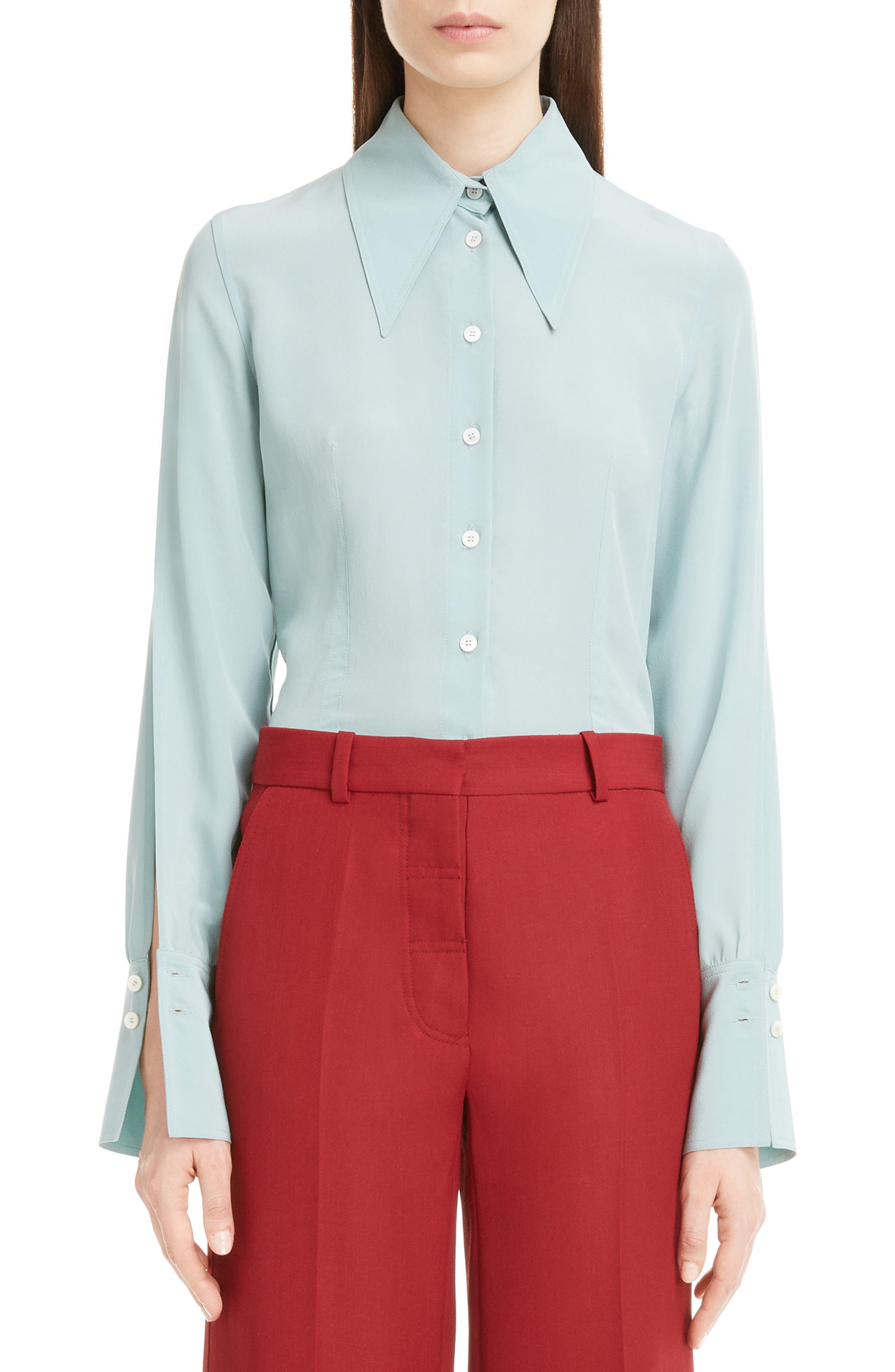 Victoria Beckham Split Sleeve Silk Shirt