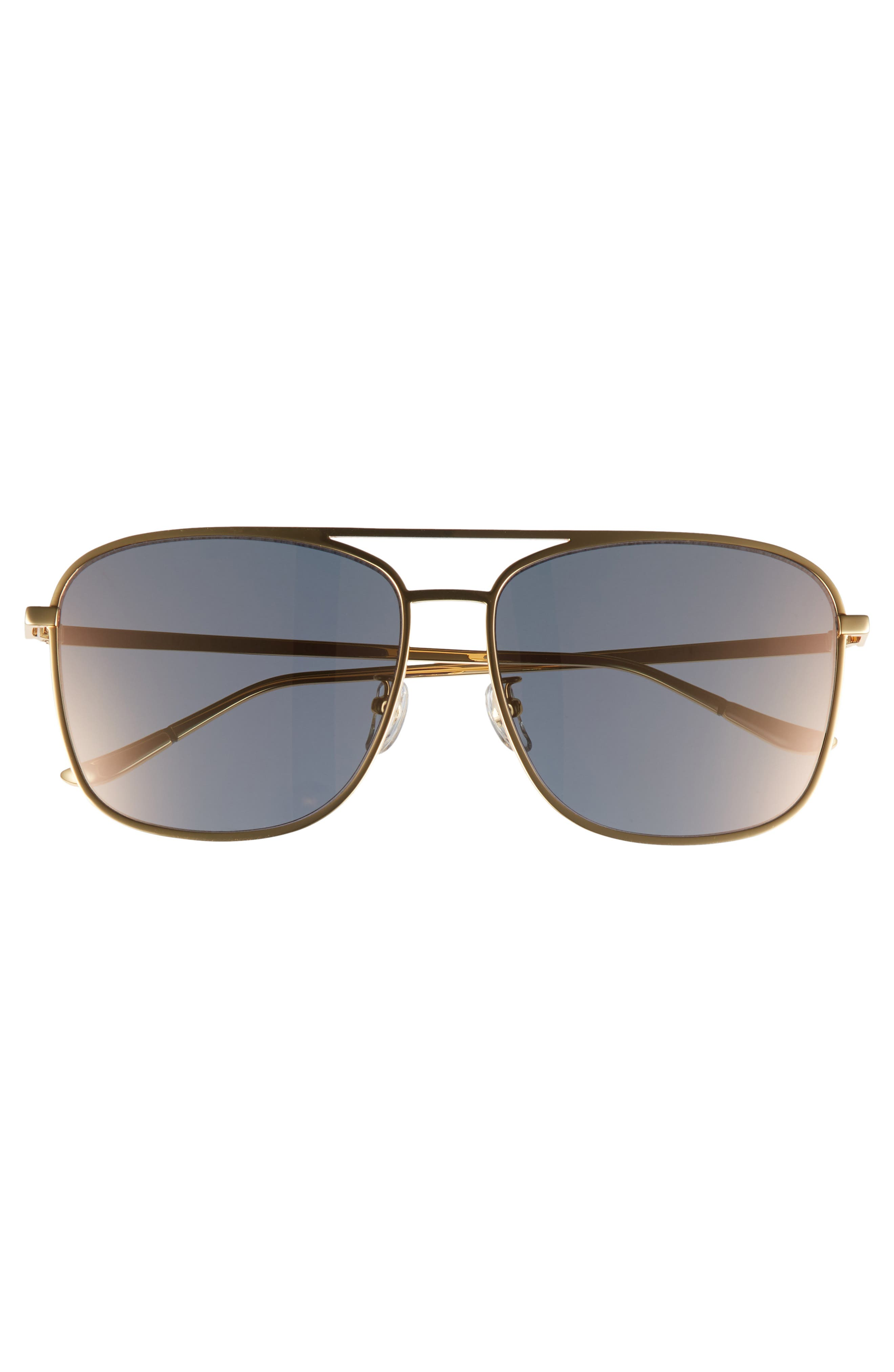 BLANC & ECLARE Geneva 61mm Large Polarized Metal Aviator Sunglasses,                             Alternate thumbnail 3, color,                             Gold/ Pink