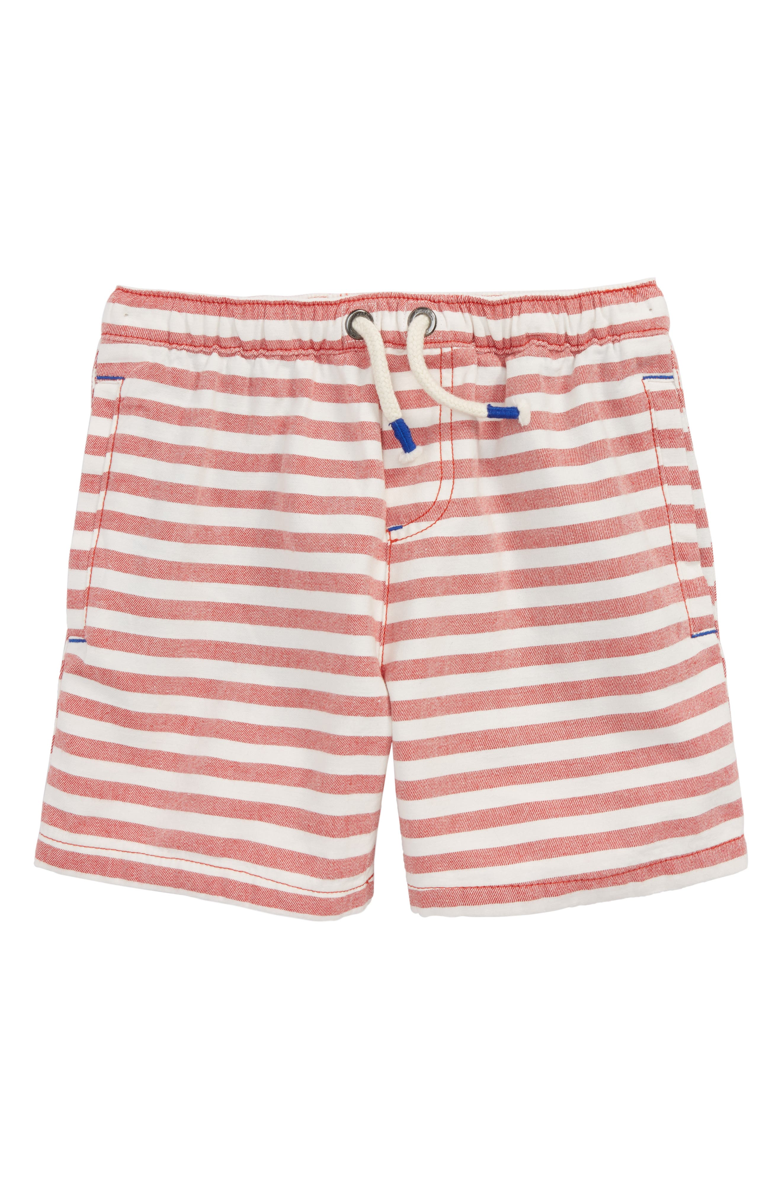 Stripe Drawstring Shorts,                             Main thumbnail 1, color,                             Salsa Red/ Ecru