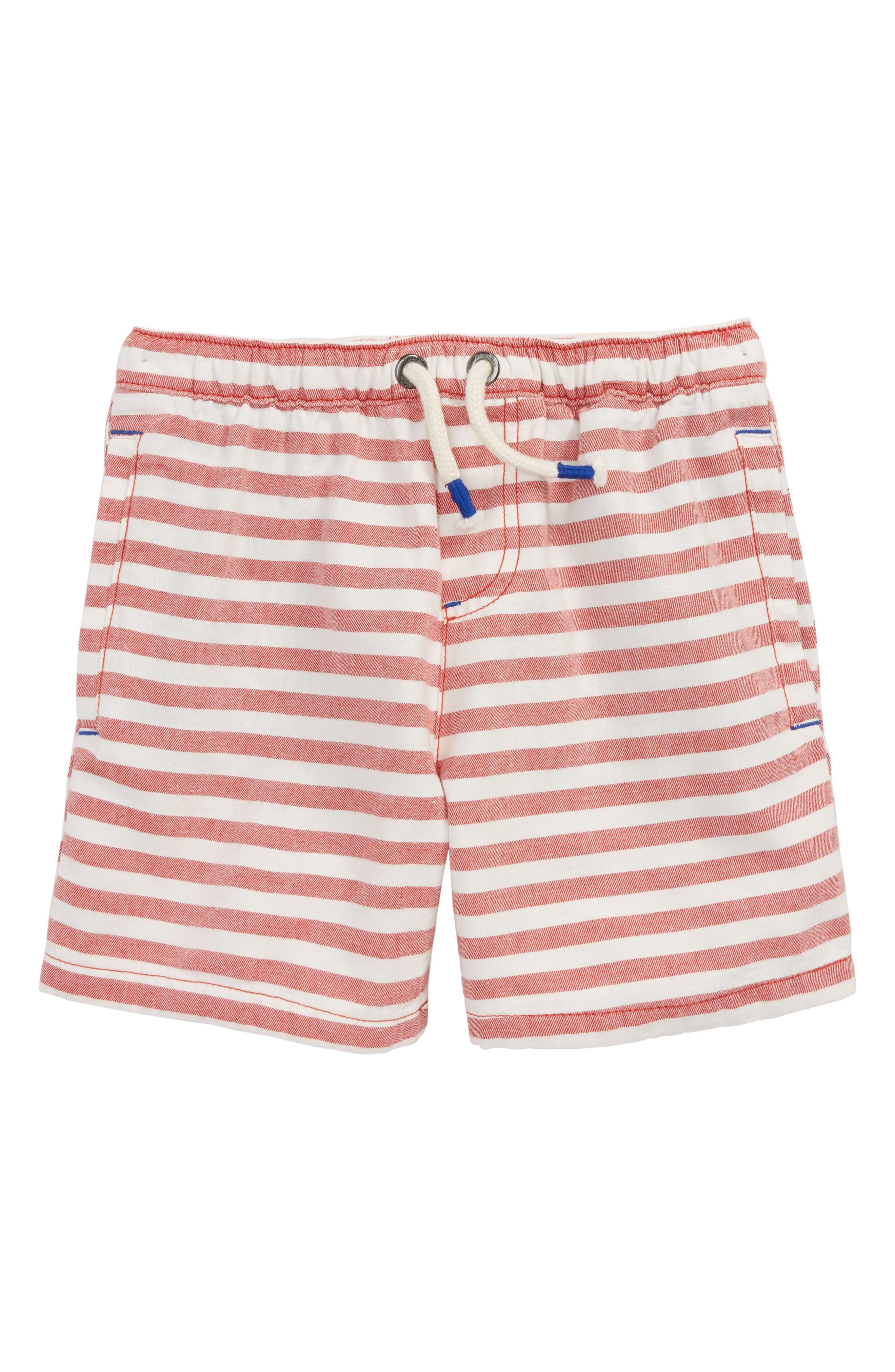 Stripe Drawstring Shorts,                         Main,                         color, Salsa Red/ Ecru
