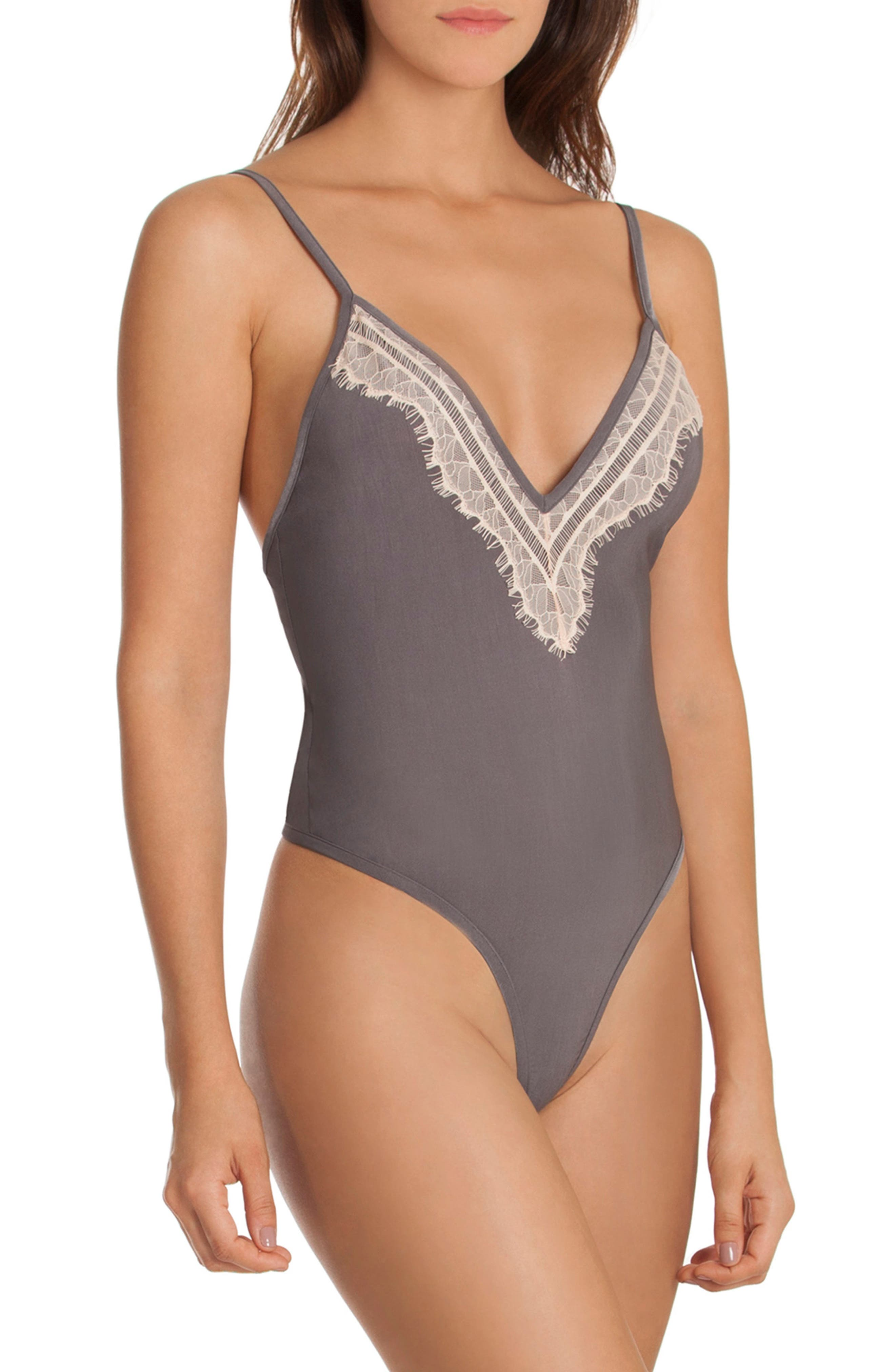 Thong Bodysuit,                         Main,                         color, Charcoal