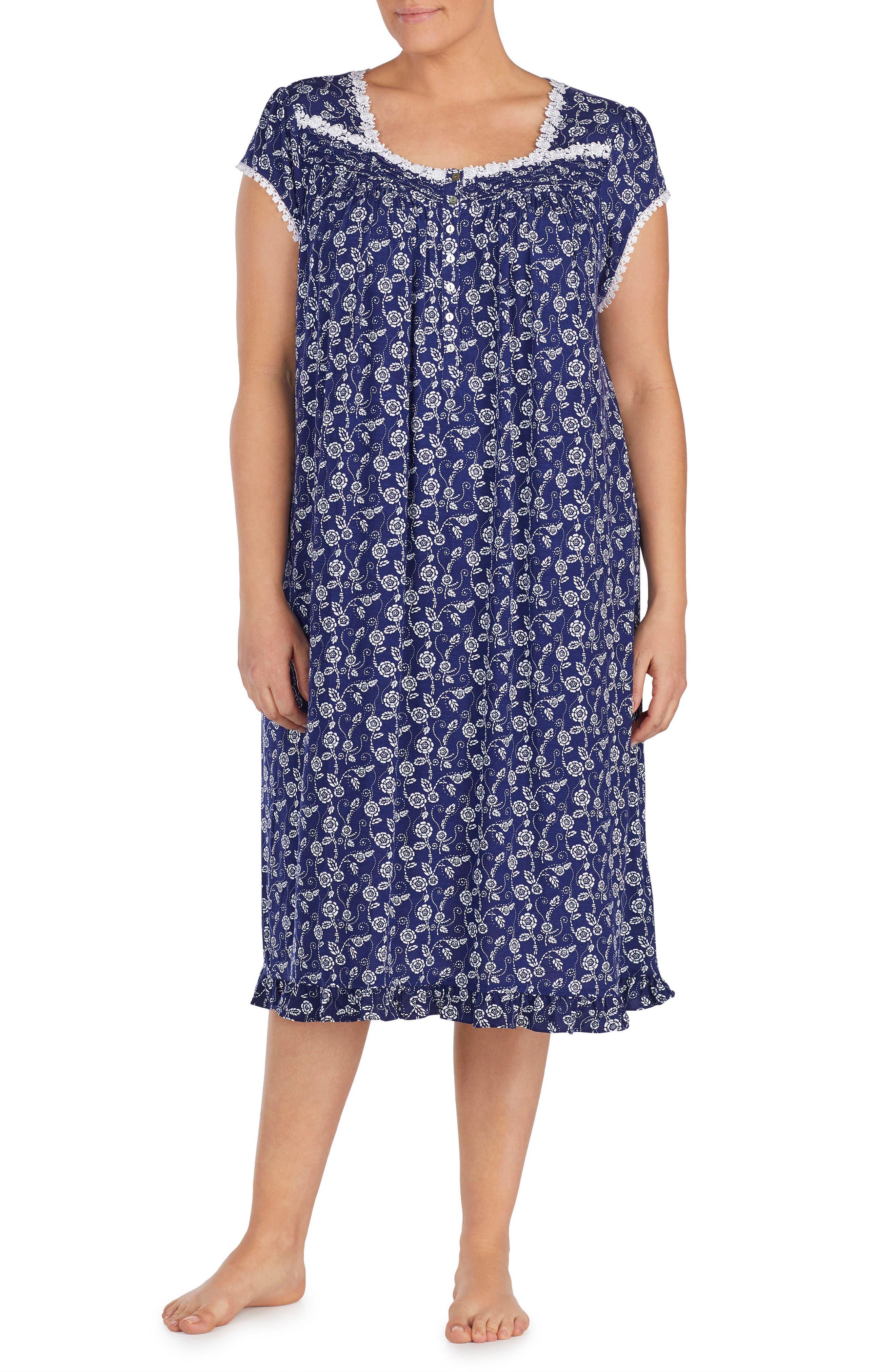 Alternate Image 1 Selected - Eileen West Print Nightgown (Plus Size)