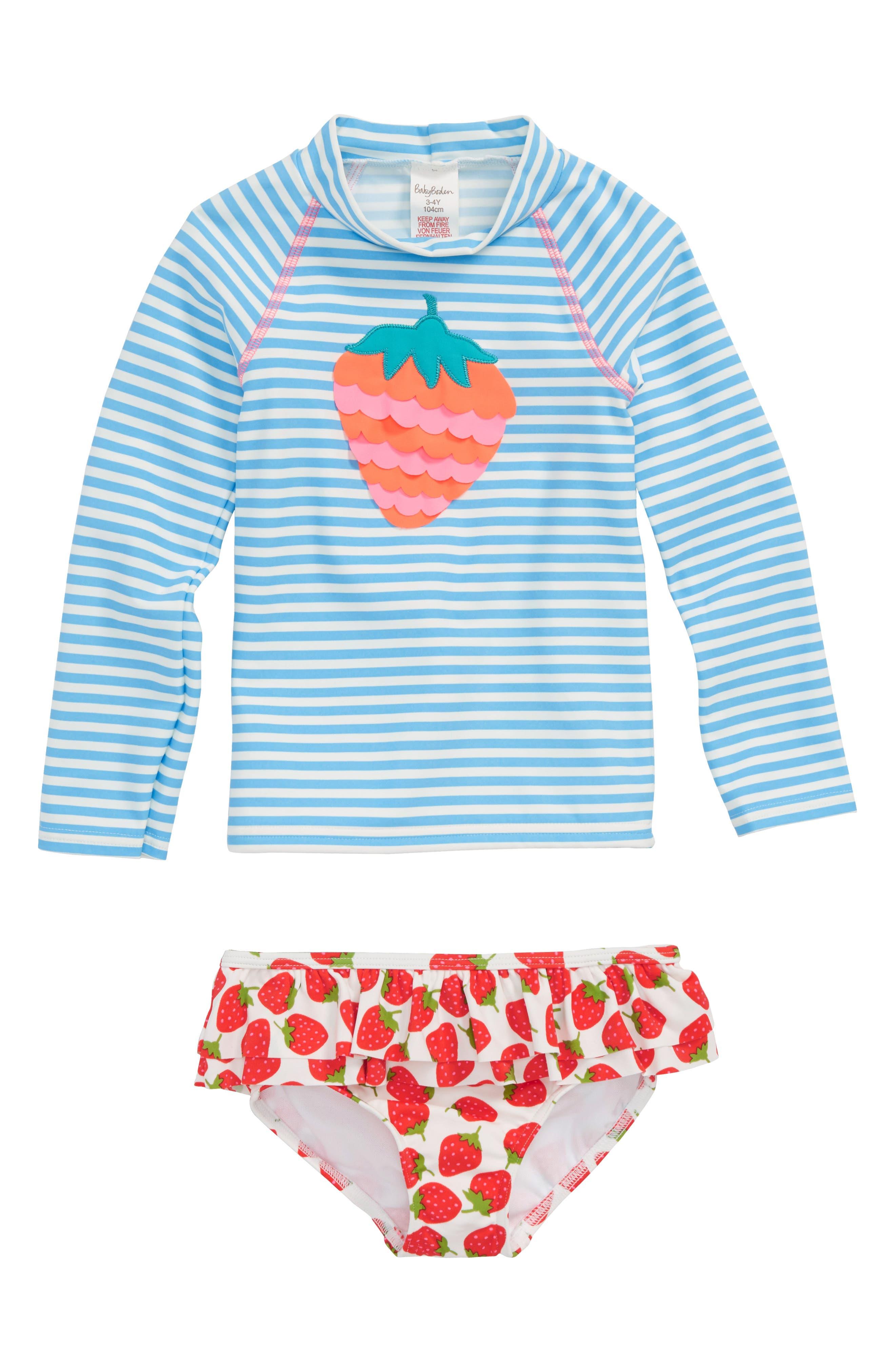 Two-Piece Rashguard Swimsuit,                             Main thumbnail 1, color,                             Candy Blue/ Ivory Stripe