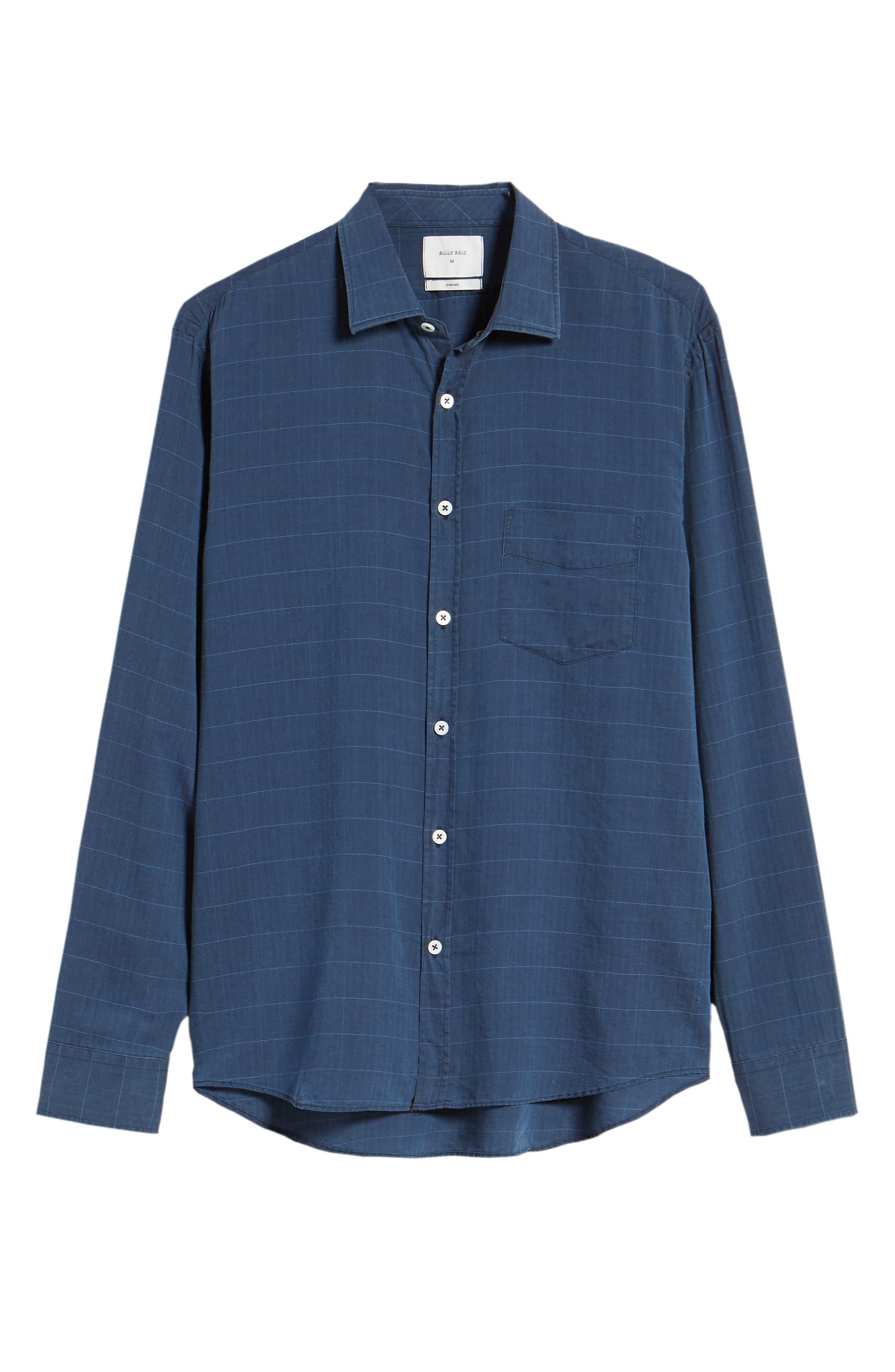 John Standard Fit Windowpane Sport Shirt,                             Alternate thumbnail 6, color,                             Indigo