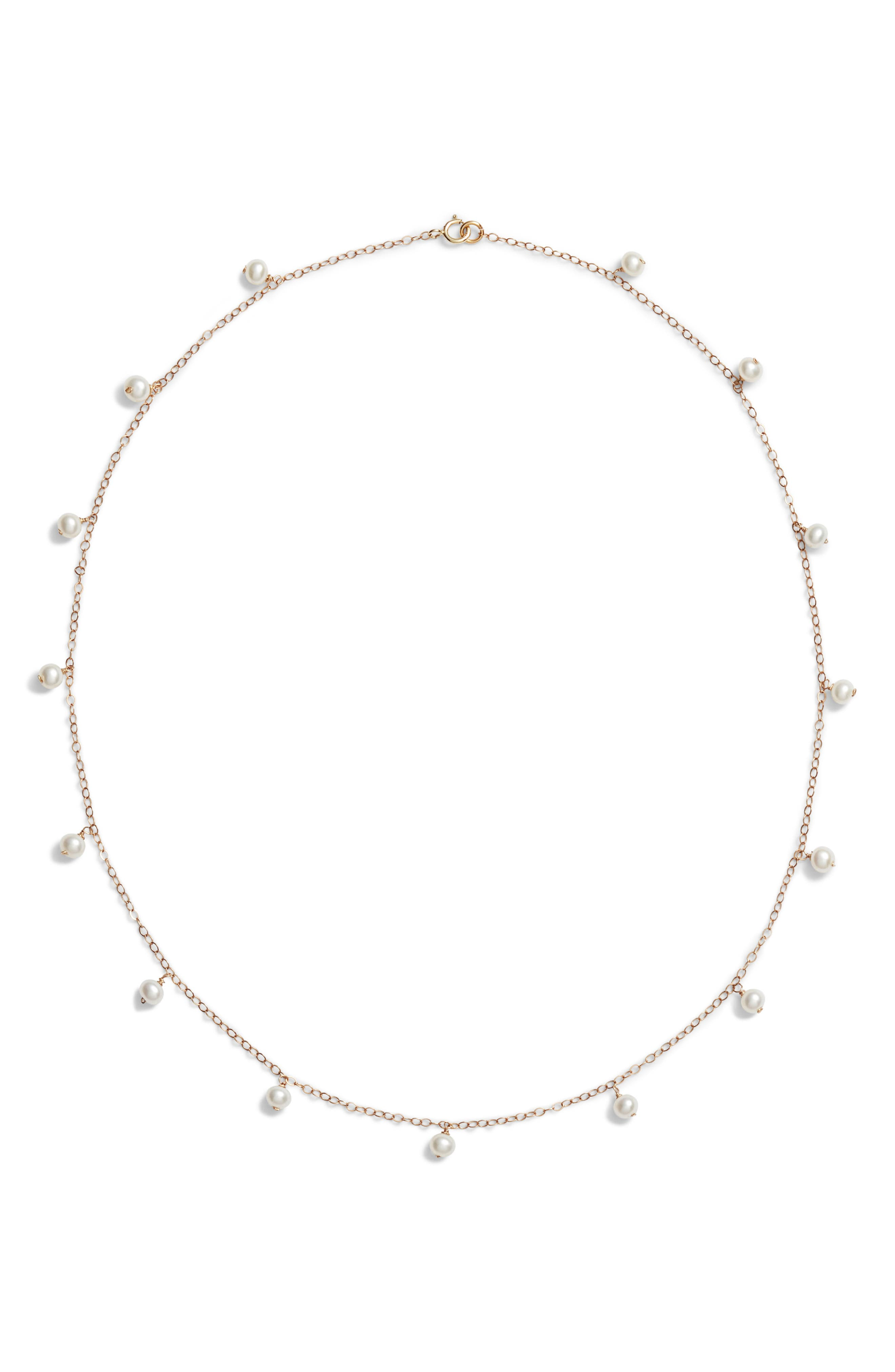 Baby Pearl Station Short Necklace,                             Main thumbnail 1, color,                             Yellow Gold/ White Pearl